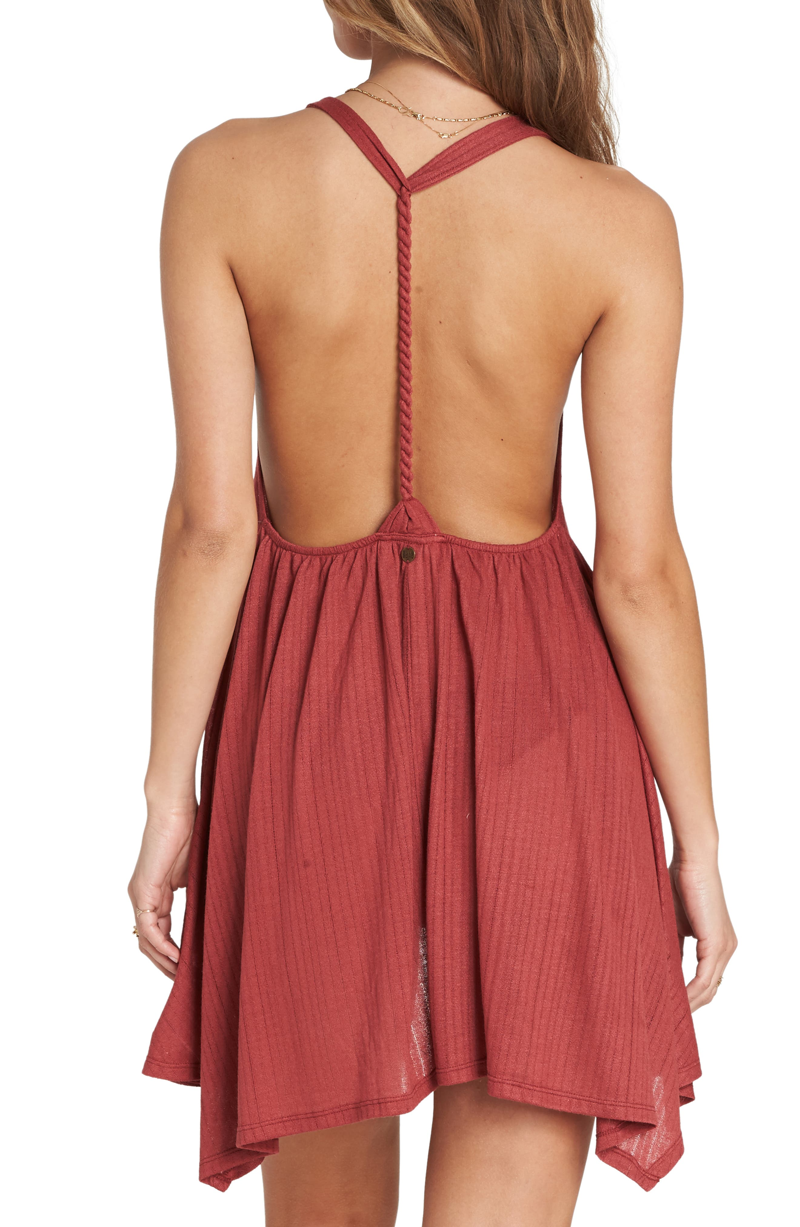 Twisted View Cover-Up Dress,                             Alternate thumbnail 2, color,                             Redwood