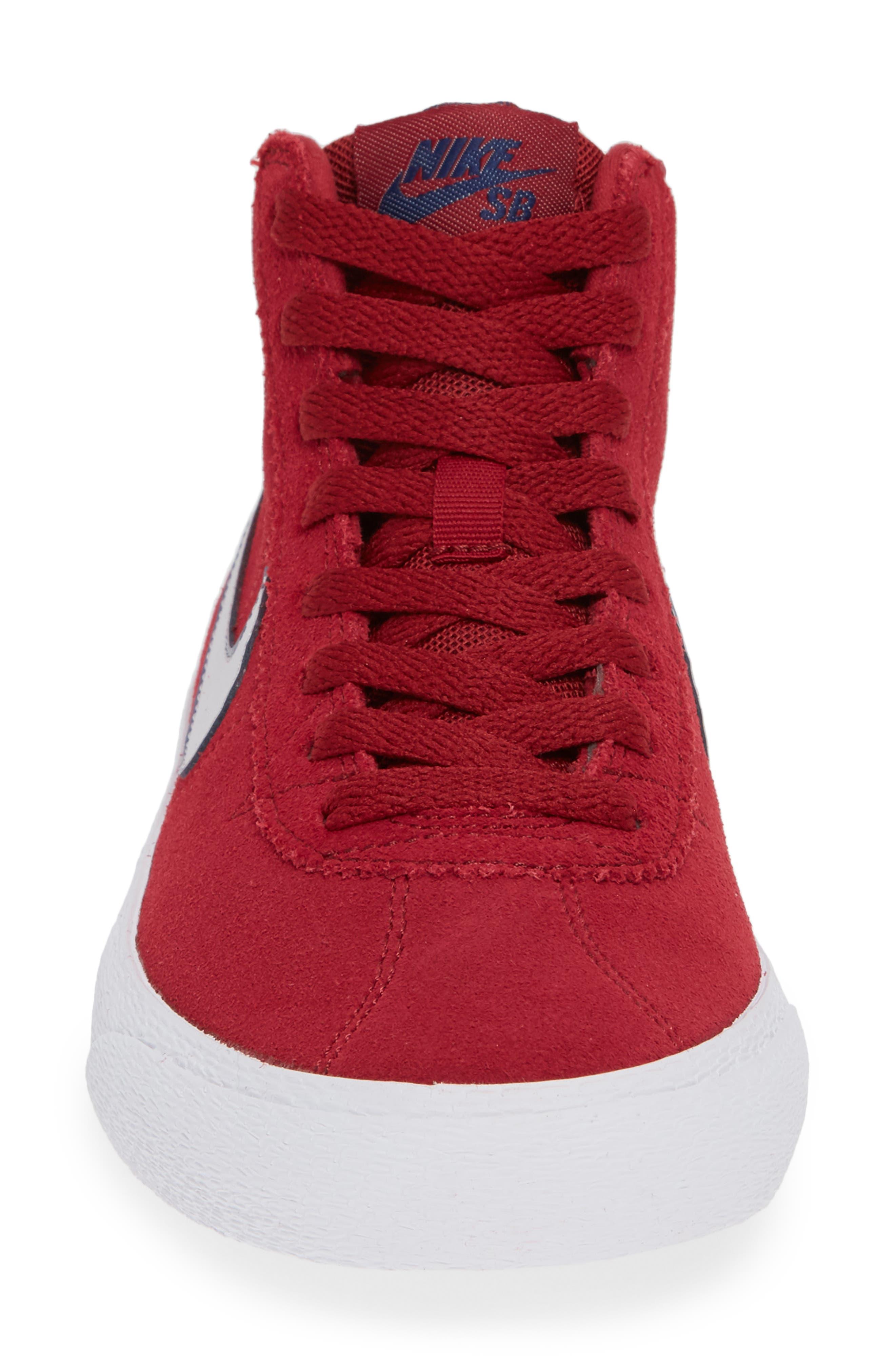 SB Bruin Hi Skateboarding Sneaker,                             Alternate thumbnail 5, color,                             Red Crush/ Vast Grey/ White