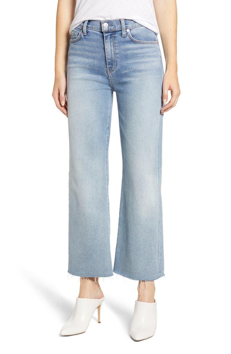 Alexa Frayed Hem Crop Wide Leg Jeans