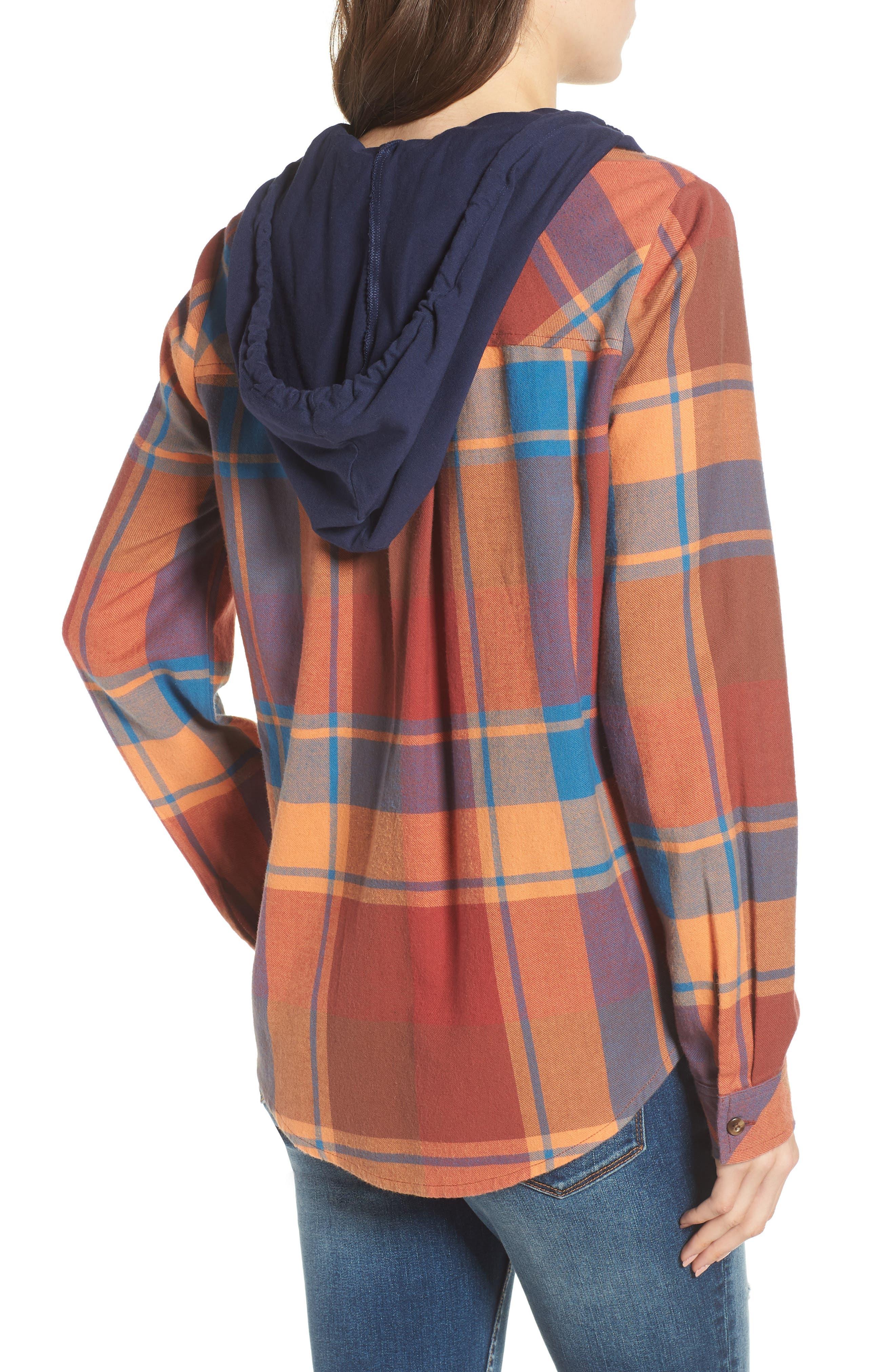 Hooded Plaid Shirt,                             Alternate thumbnail 2, color,                             Blue Star Roselyn Plaid
