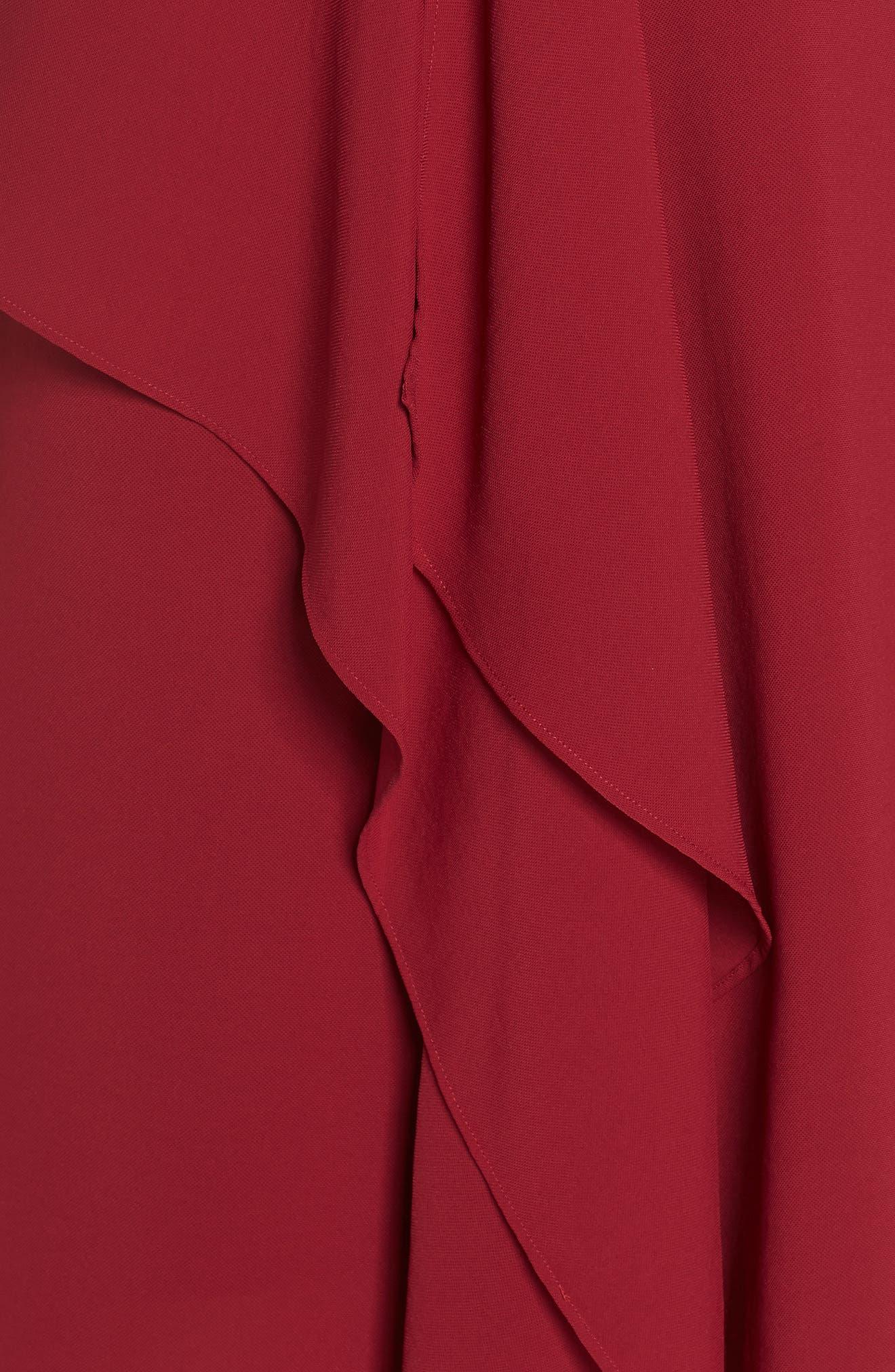 Ruffle Front Crepe High/Low Dress,                             Alternate thumbnail 6, color,                             Alizarin Crimson