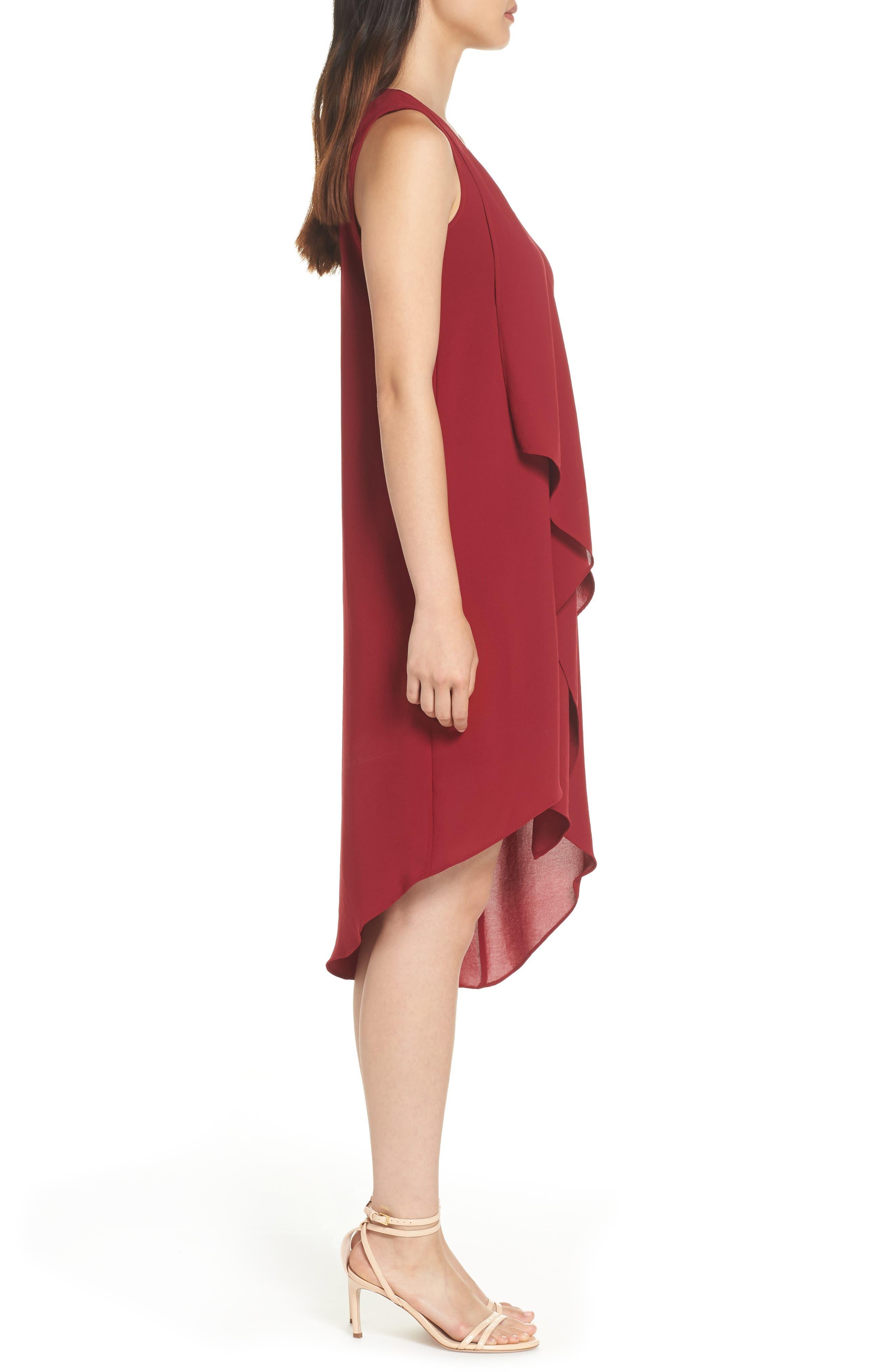 Ruffle Front Crepe High/Low Dress,                             Alternate thumbnail 3, color,                             Alizarin Crimson