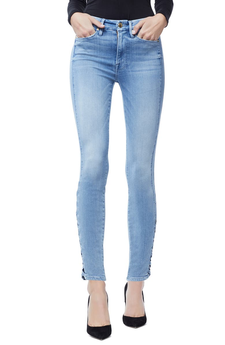 Good Legs Lattice Ankle Skinny Jeans