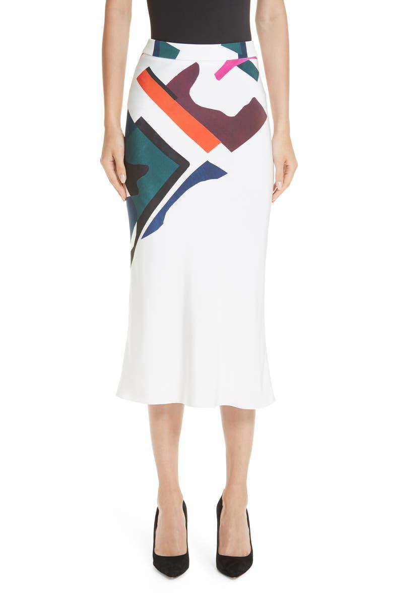 Lia Expressionist Print Pencil Skirt