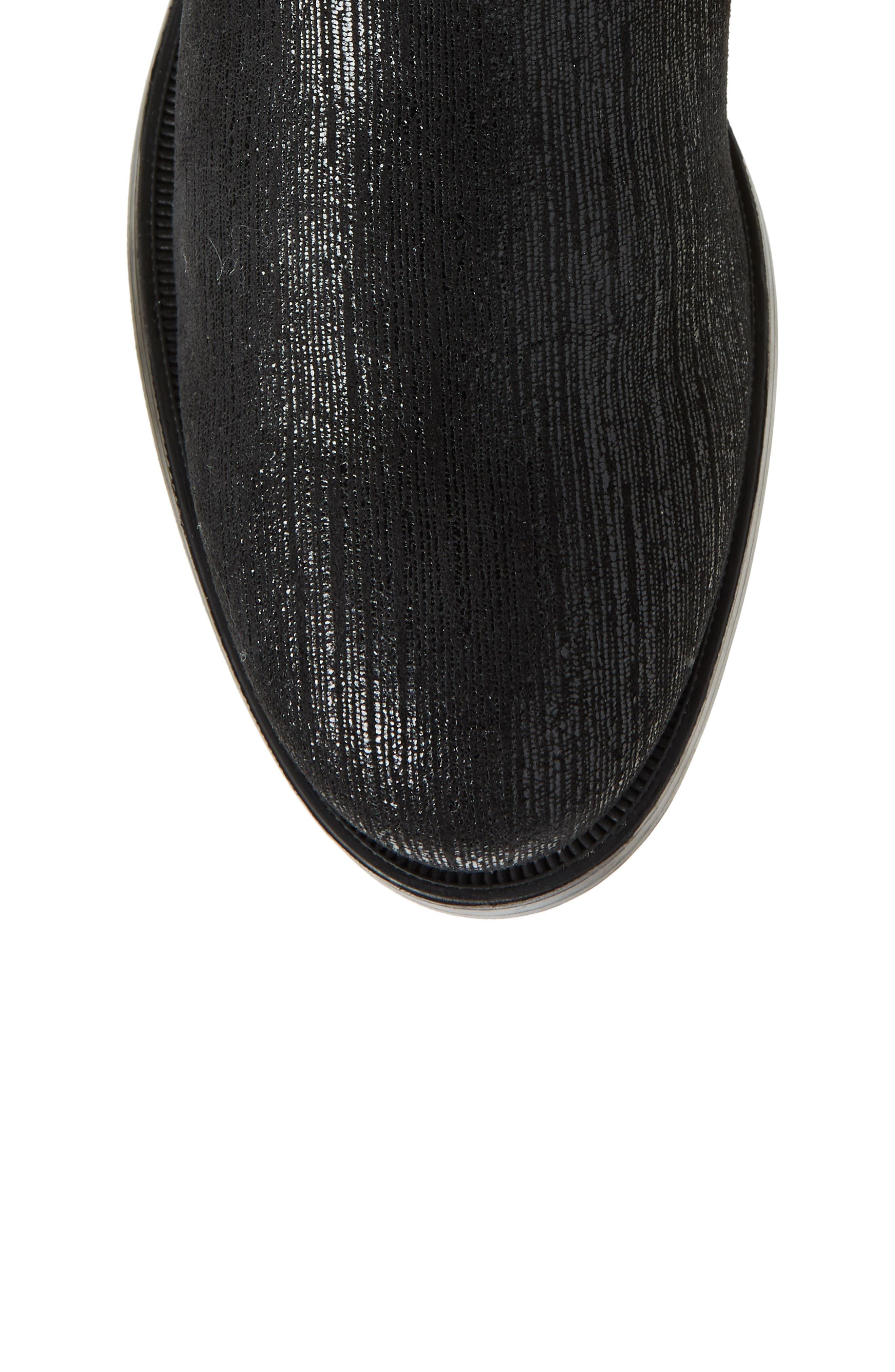 Bunt Waterproof Over the Knee Boot,                             Alternate thumbnail 5, color,                             Black Metal/ Lycra
