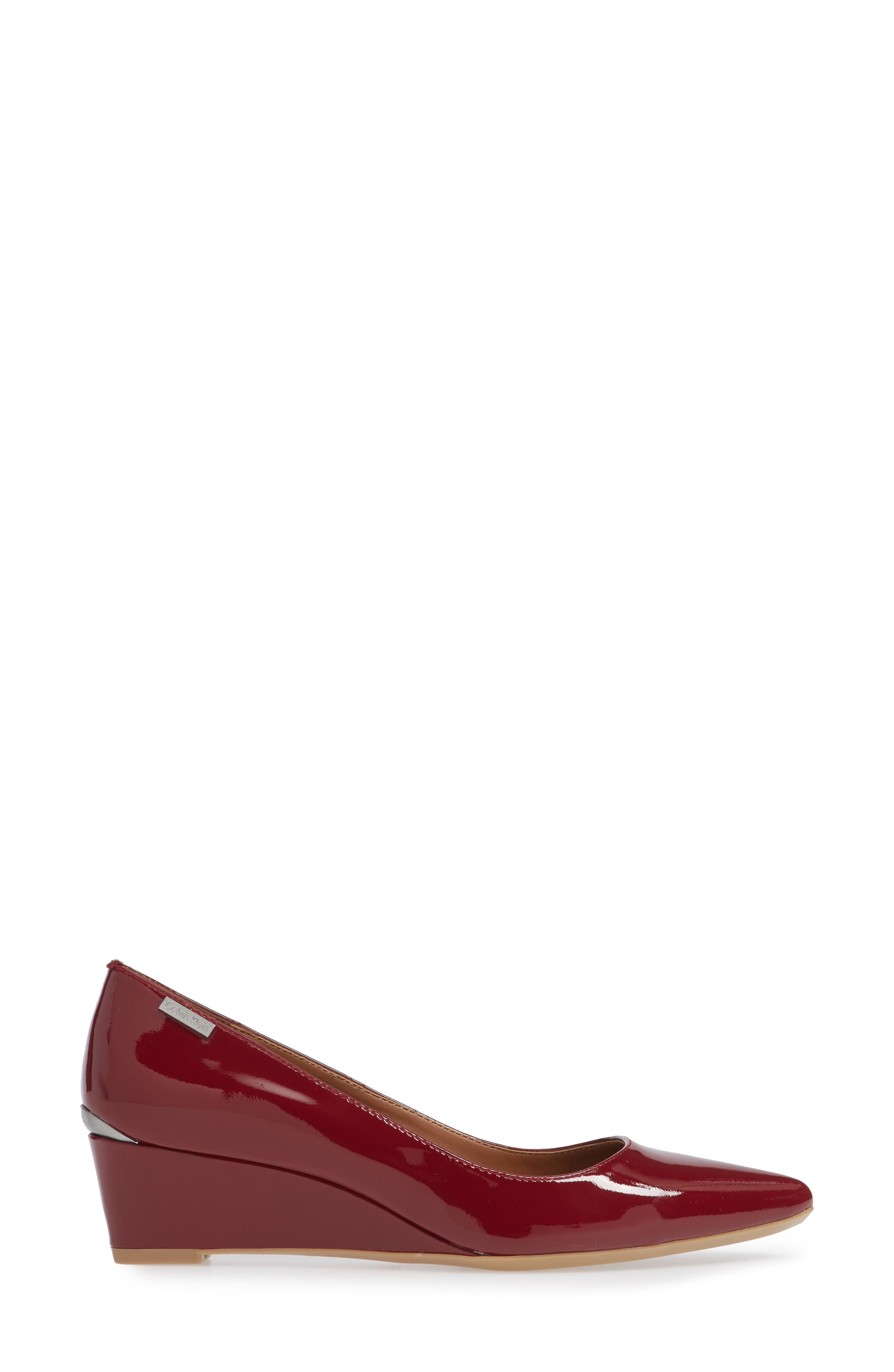 'Germina' Pointy Toe Wedge,                             Alternate thumbnail 6, color,                             Red Rock Patent