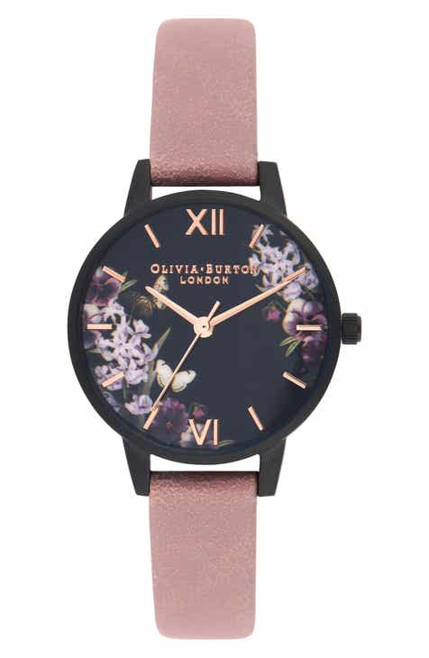 611c23d61 Olivia Burton After Dark Leather Strap Watch, 30mm