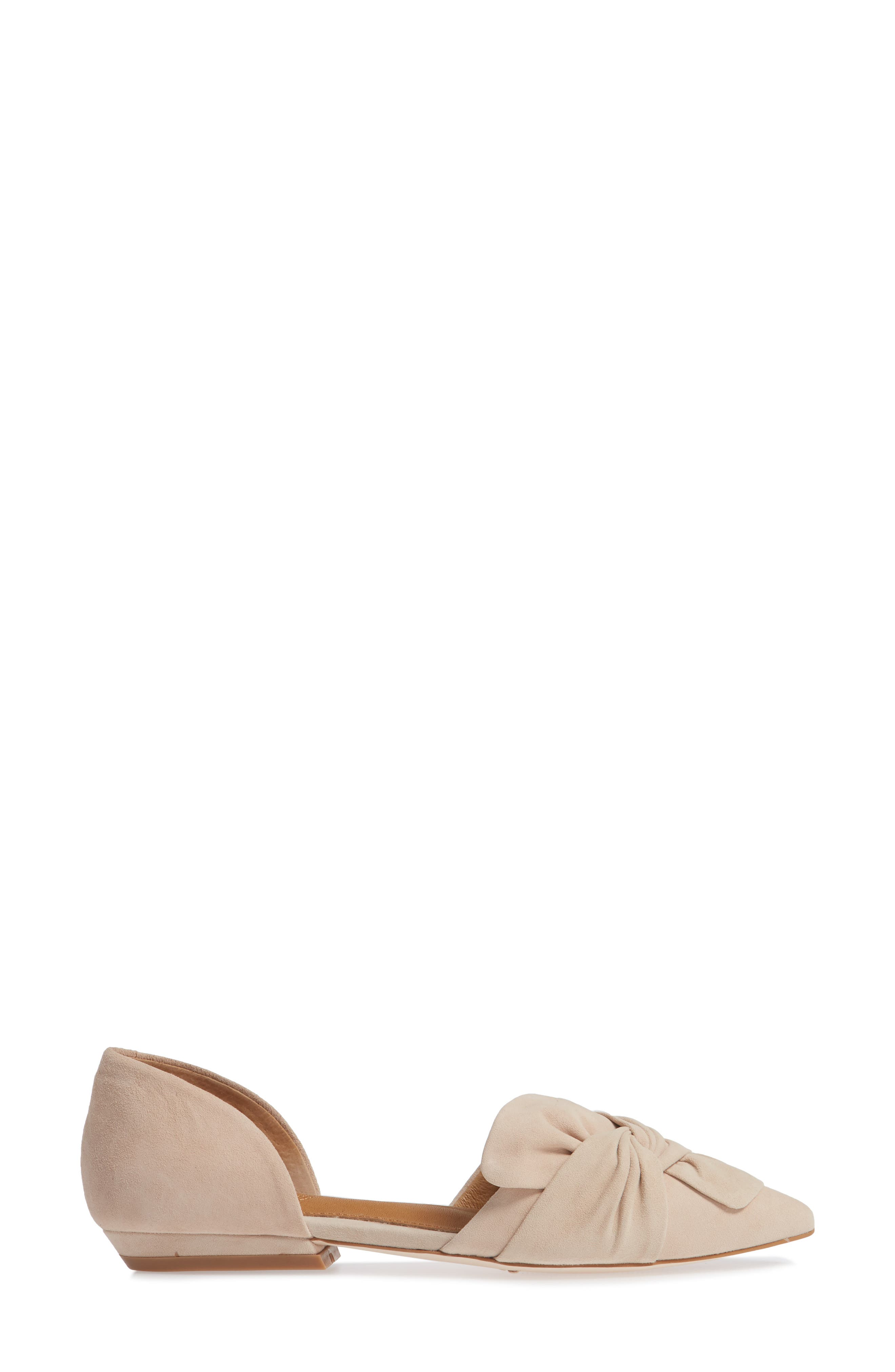 Mollie d'Orsay Flat,                             Alternate thumbnail 3, color,                             Nude Suede