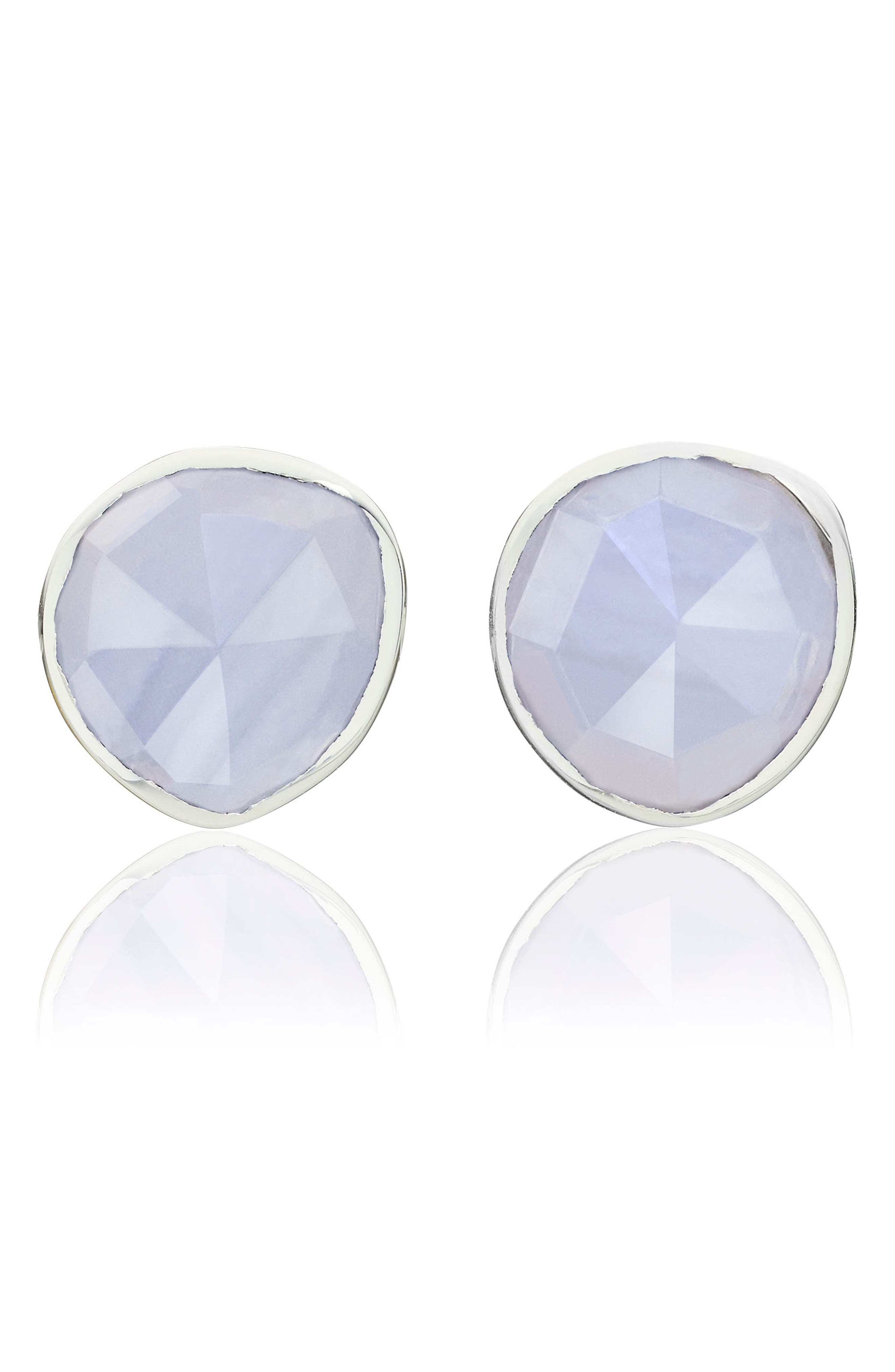 Siren Stud Earrings,                             Main thumbnail 1, color,                             Silver/ Blue Lace Agate
