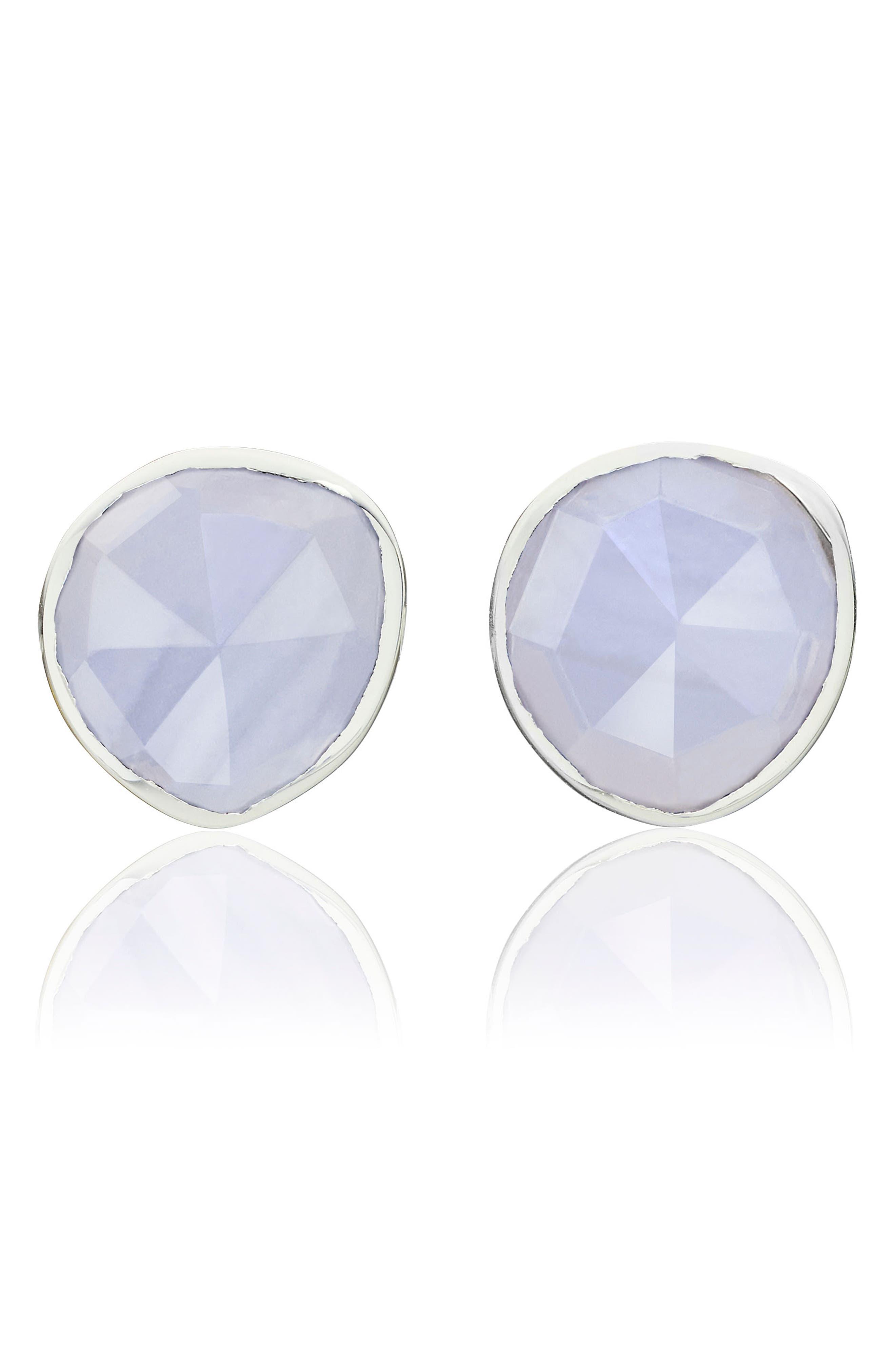 Siren Stud Earrings,                         Main,                         color, Silver/ Blue Lace Agate
