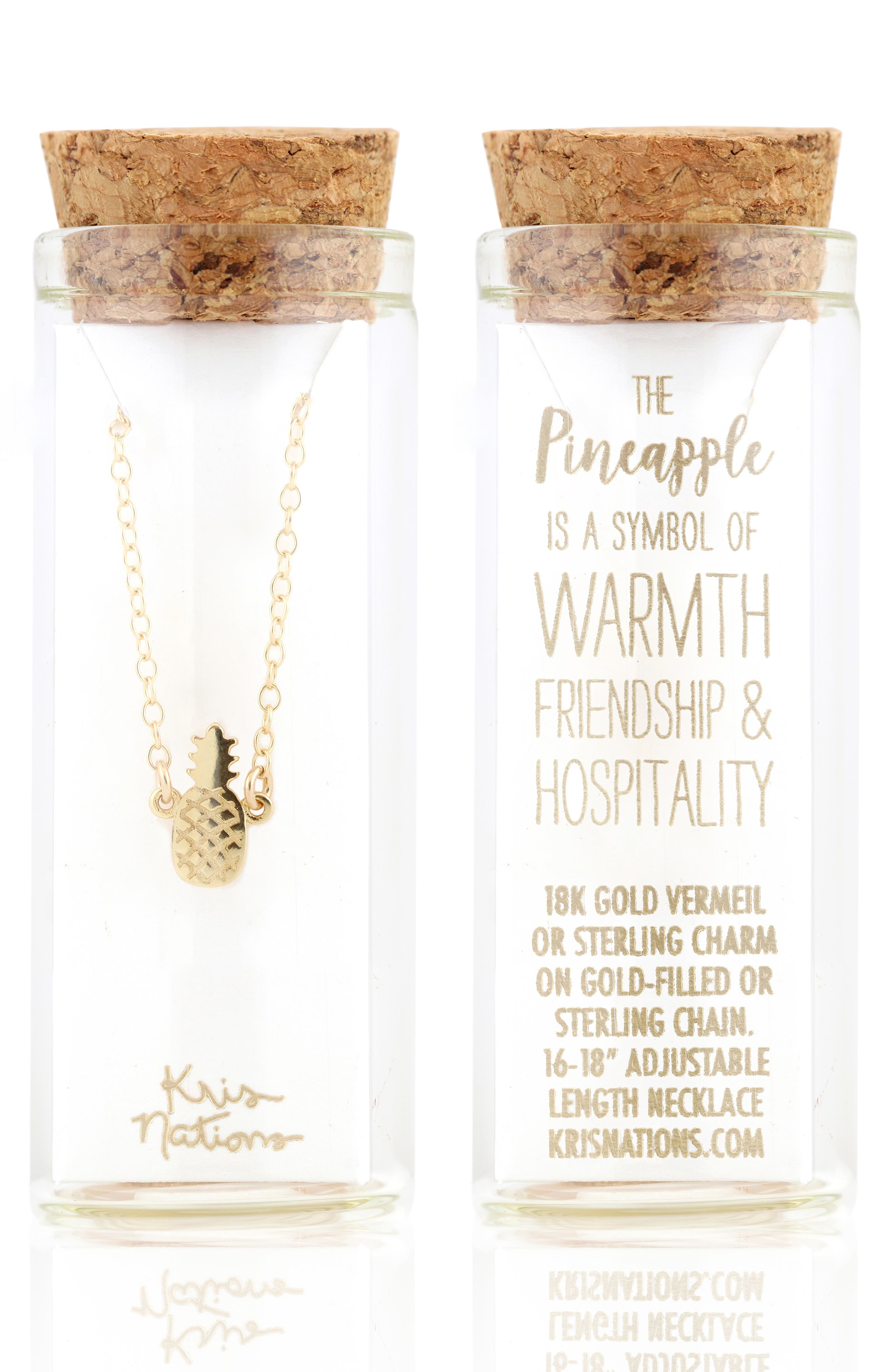 Pineapple Charm Necklace,                             Alternate thumbnail 2, color,                             Gold