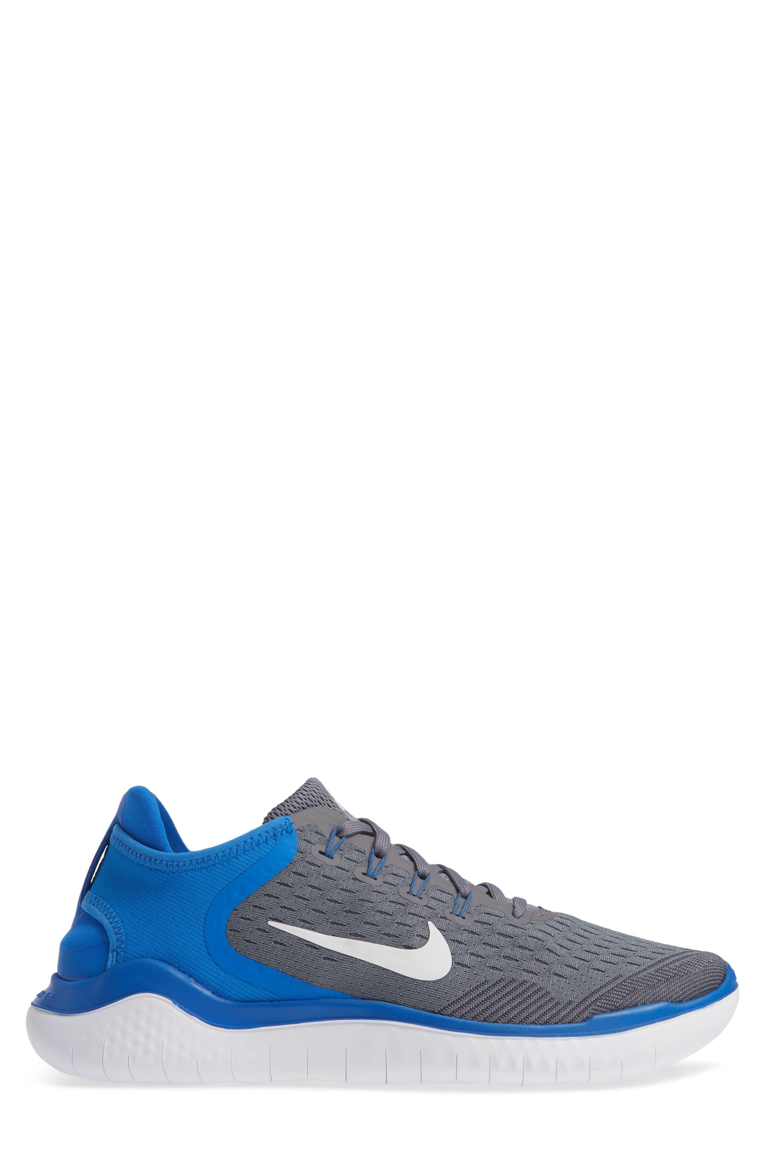 Free RN 2018 Running Shoe,                             Alternate thumbnail 5, color,                             Gunsmoke/ White/ Blue