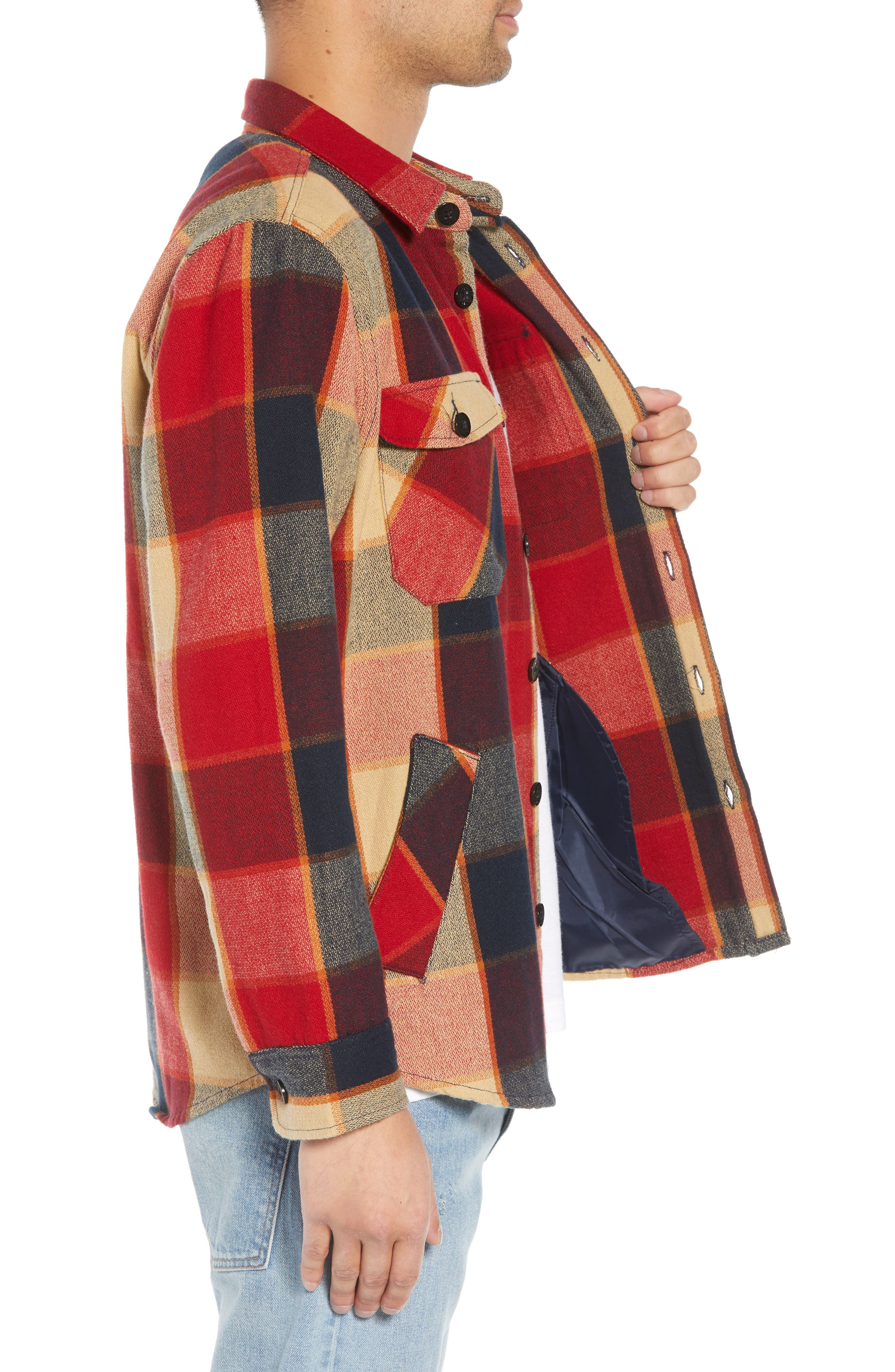 Durham Flannel Shirt,                             Alternate thumbnail 4, color,                             Red/ Navy