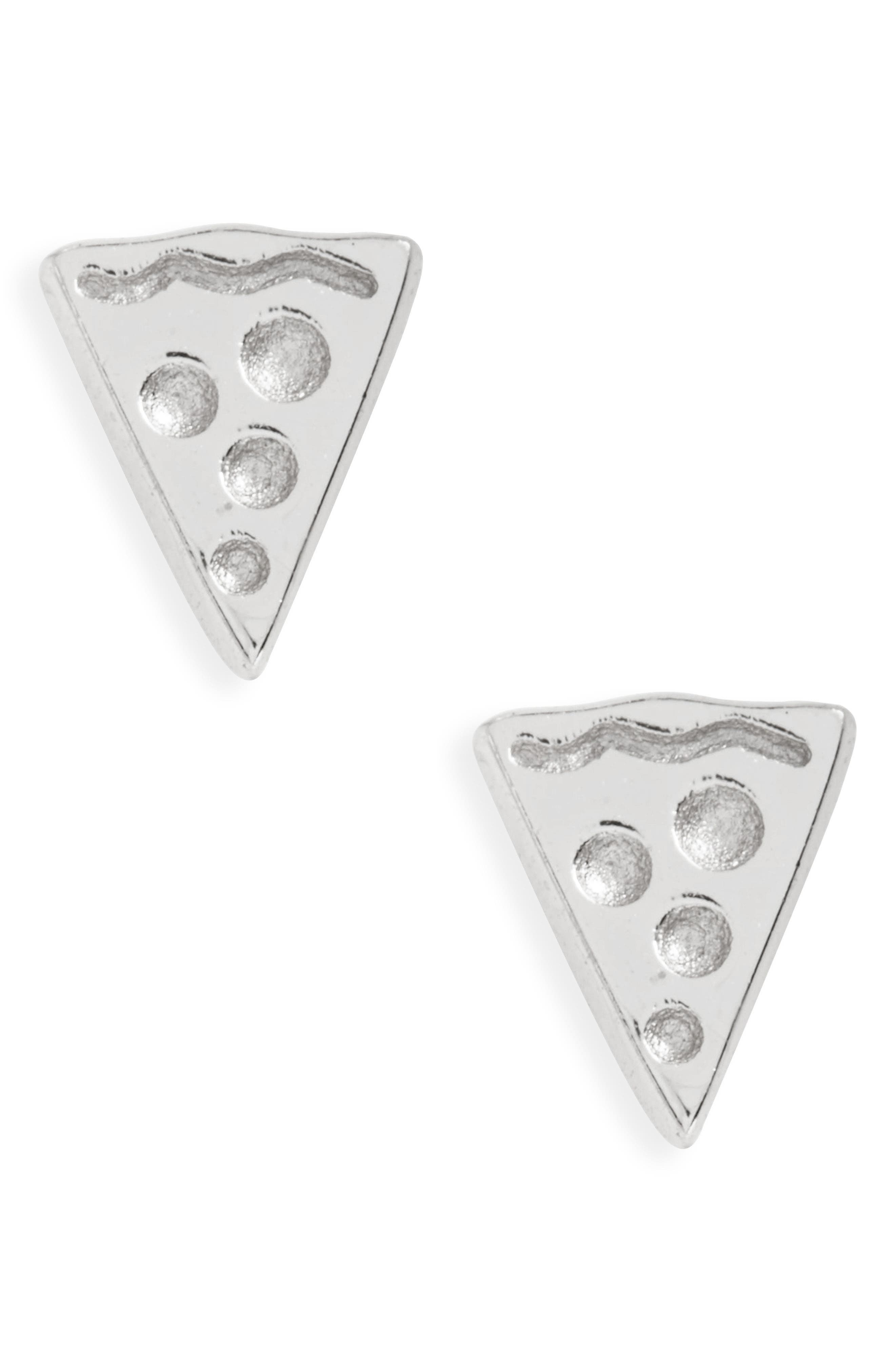 Pizza Stud Earrings,                         Main,                         color, Silver