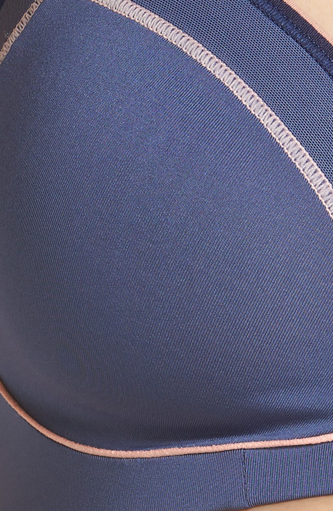 Zen Convertible Underwire Sports Bra,                             Alternate thumbnail 7, color,                             Blue Indigo/ Pale Peach