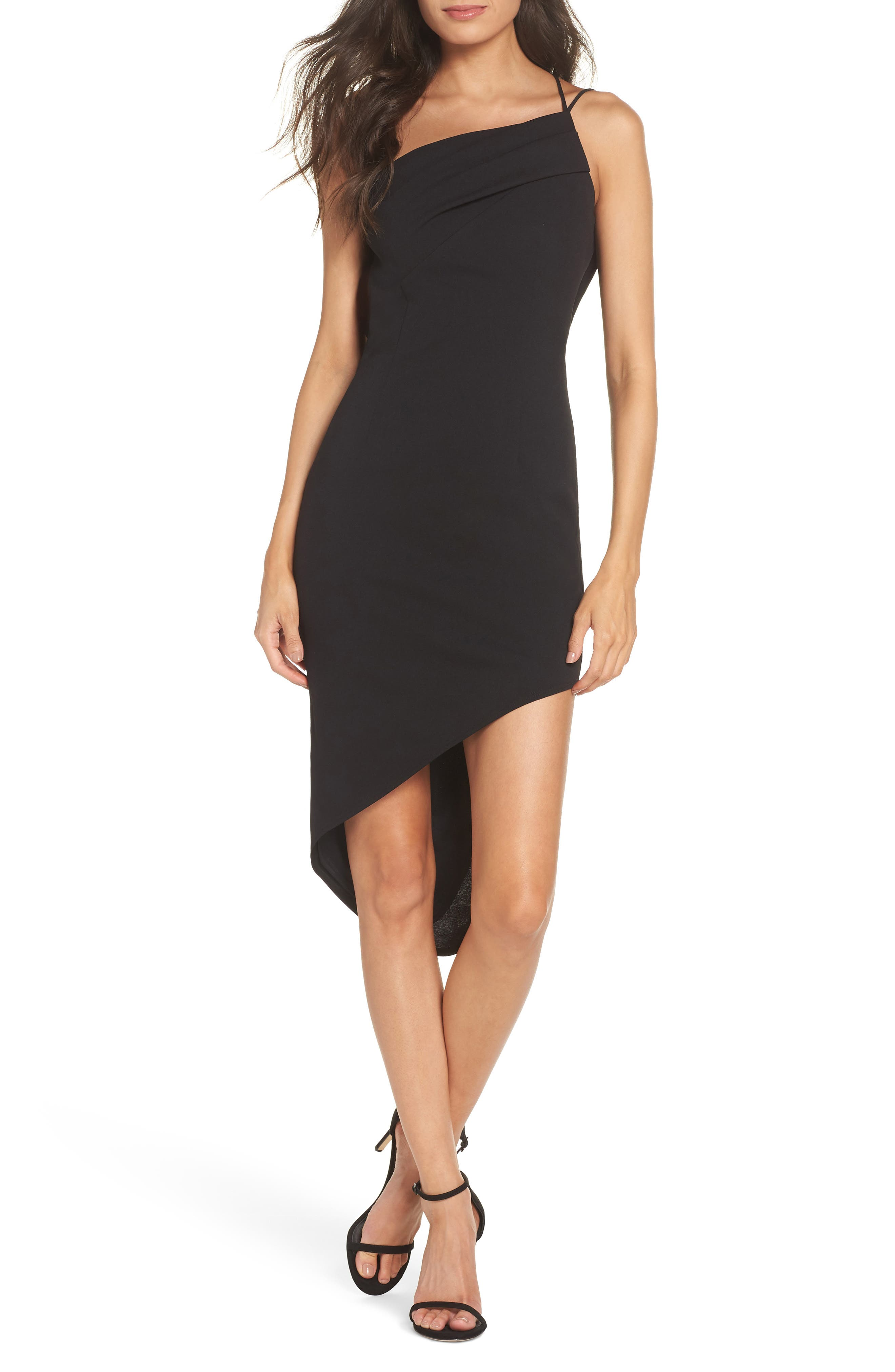 KATIE MAY ONE-SHOULDER ASYMMETRICAL COCKTAIL SHEATH