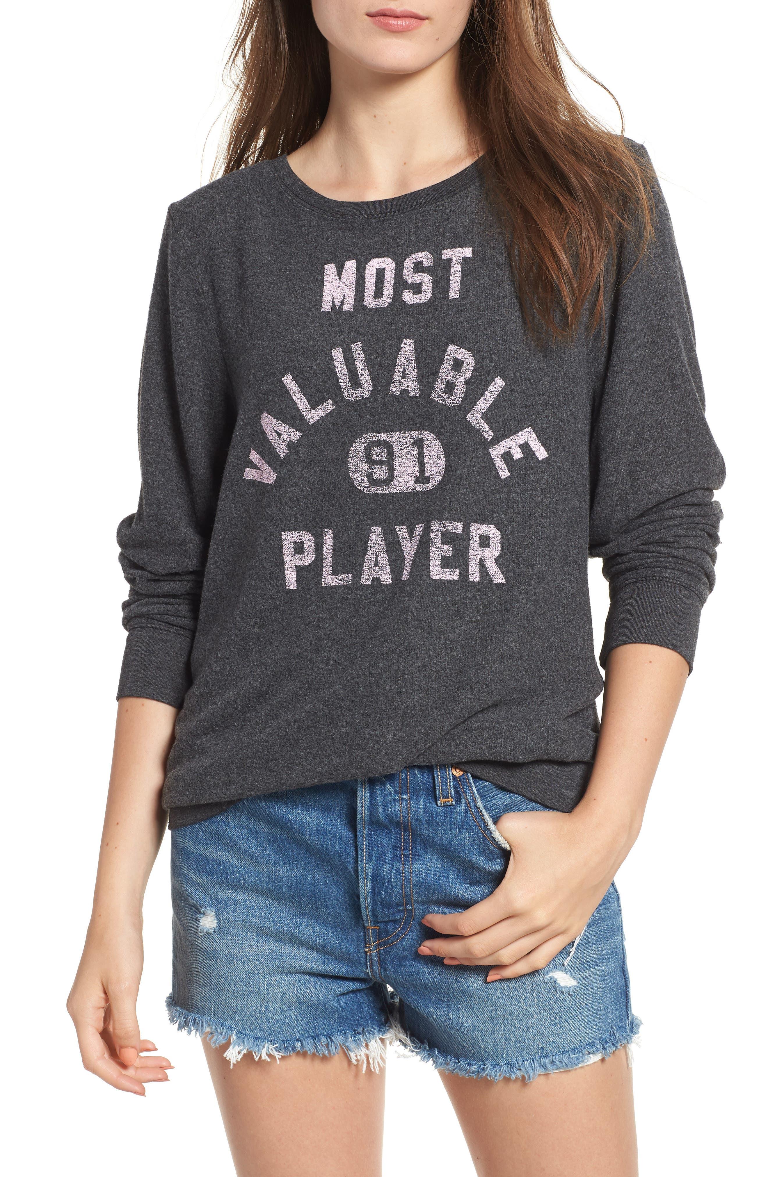 Most Valuable Player Baggy Beach Jumper Sweatshirt, Clean Black