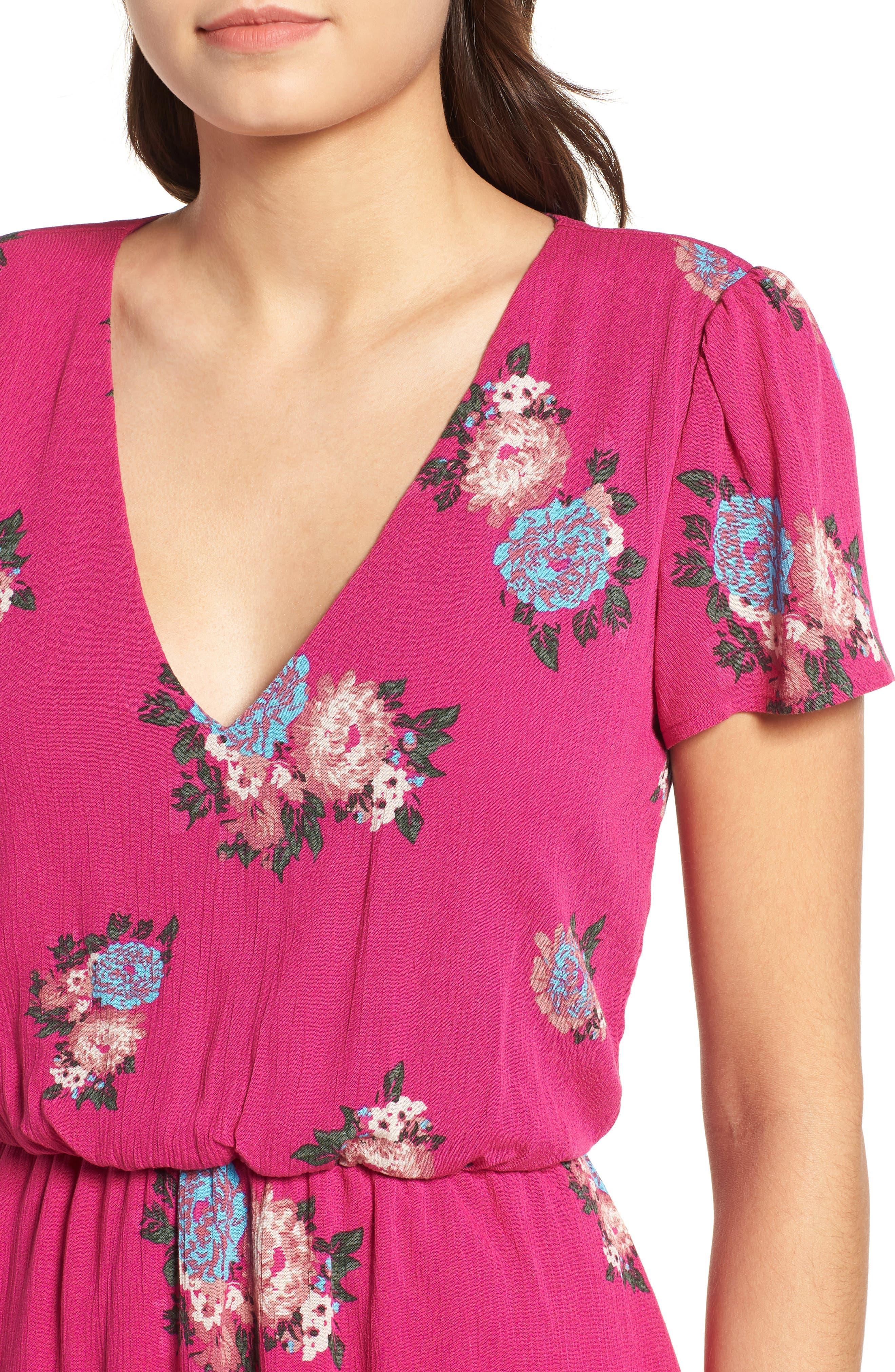 Blouson Midi Dress,                             Alternate thumbnail 4, color,                             Pink Berry Floral