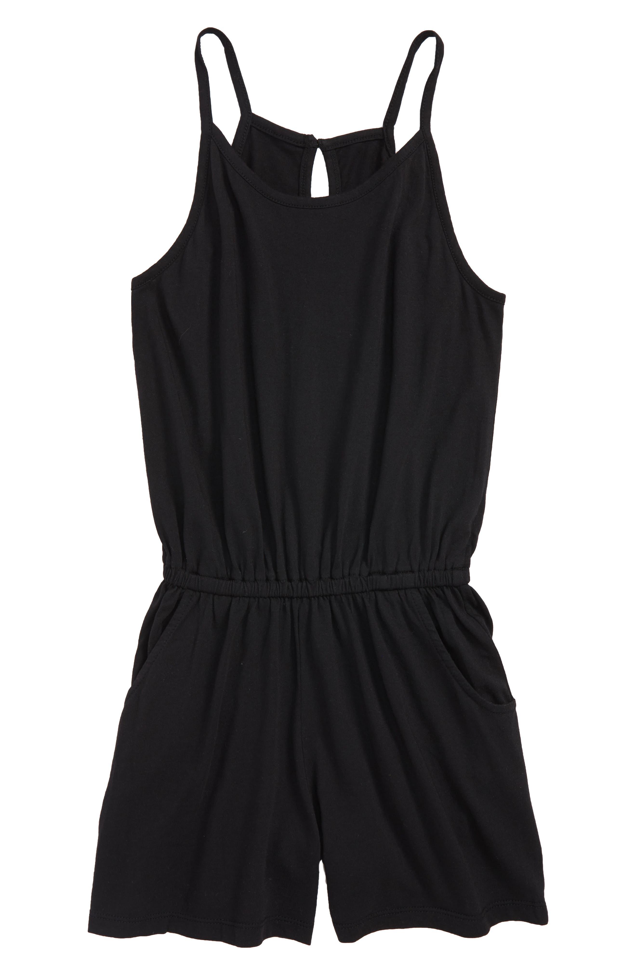 Corrie Cotton Blend Romper,                         Main,                         color, Black