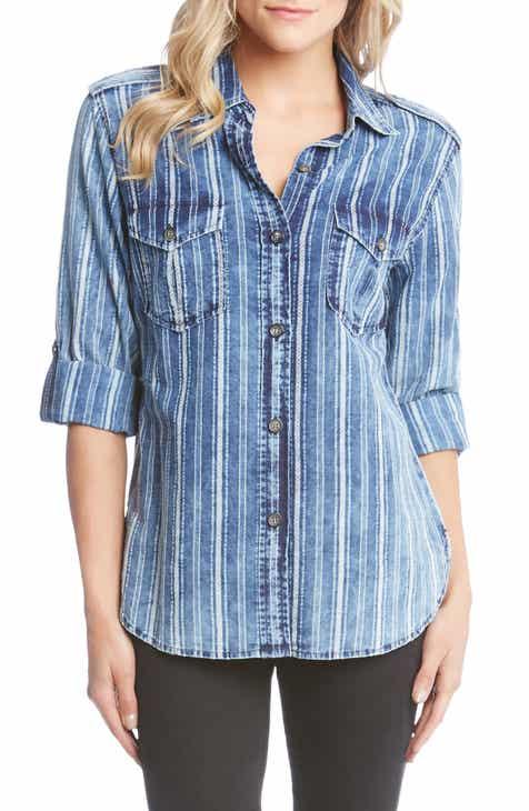 Karen Kane Roll Sleeve Stripe Shirt
