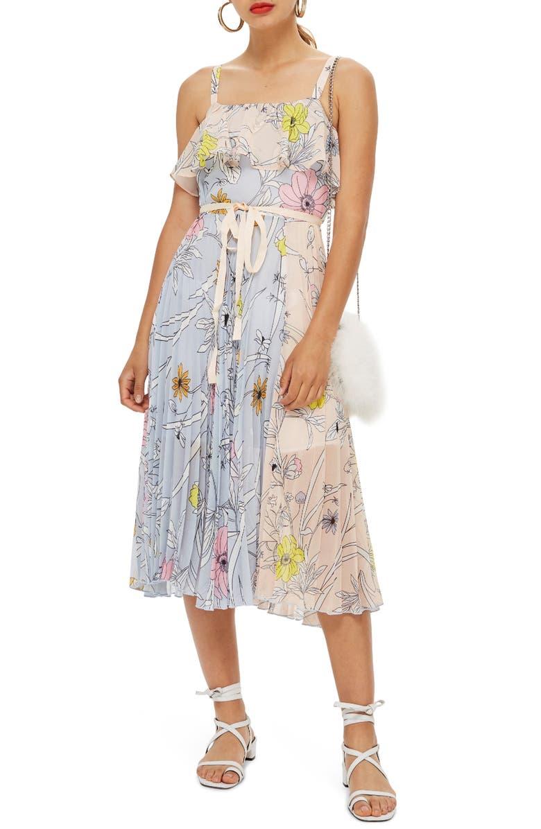 Pastel Pleated Midi Dress