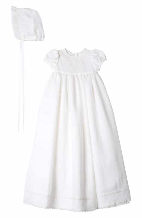 de8023db27290 Pippa & Julie Point Desprit Embroidered Heart Christening Gown & Bonnet ( Baby)