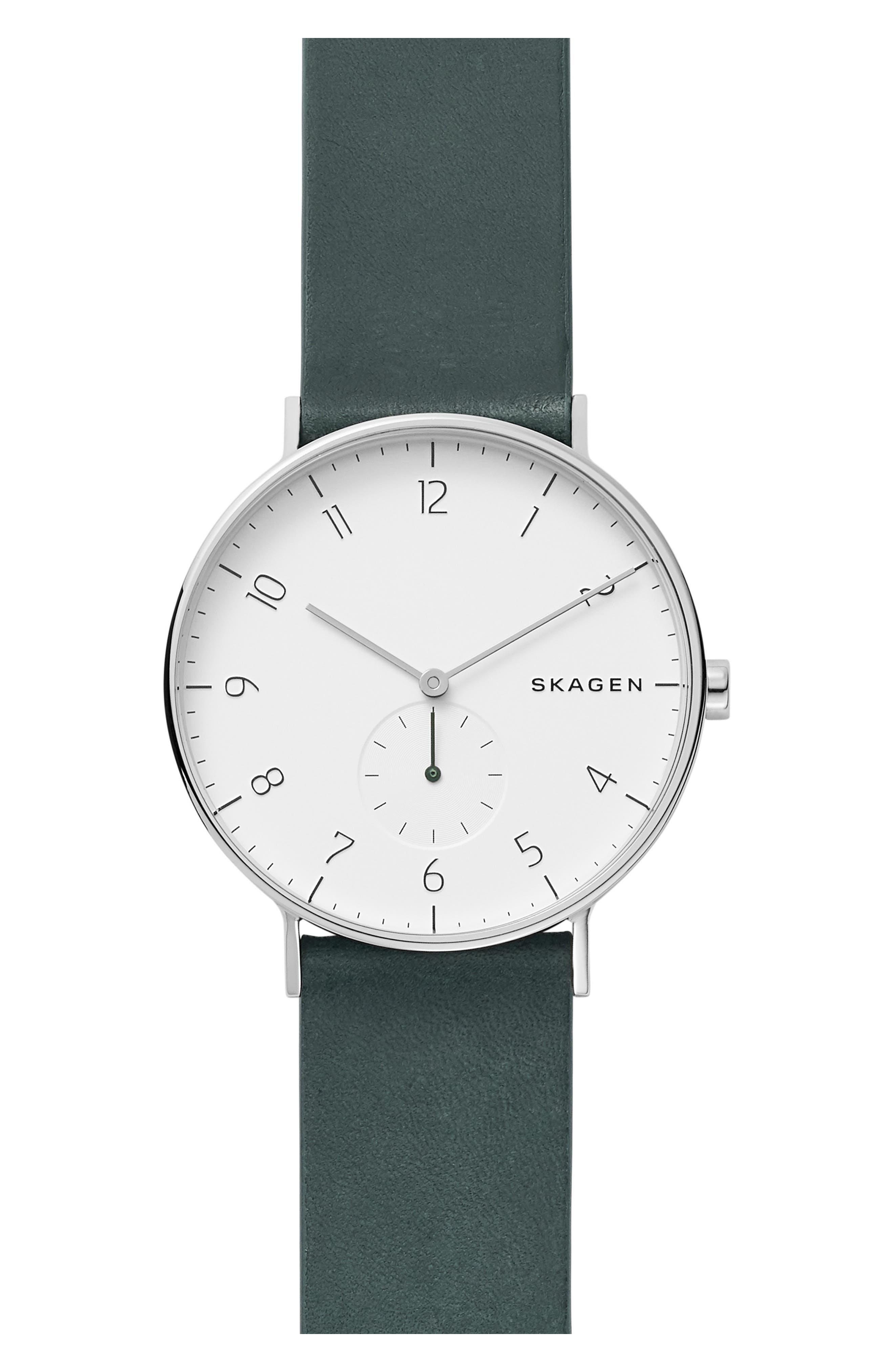 SKAGEN MEN'S AAREN GREEN LEATHER STRAP WATCH 40MM