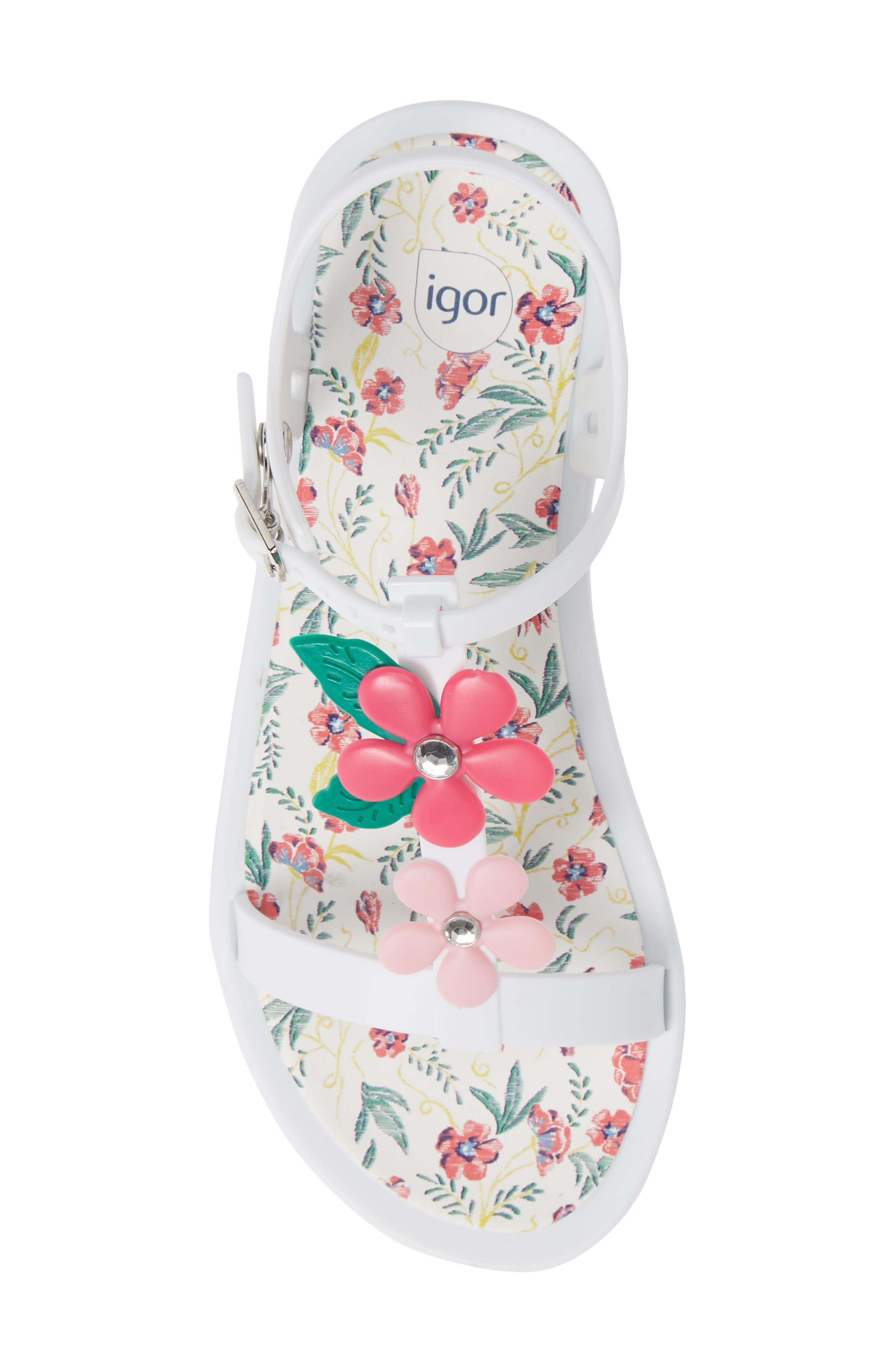 Tricia Floral T-Strap Sandal,                             Alternate thumbnail 3, color,                             White