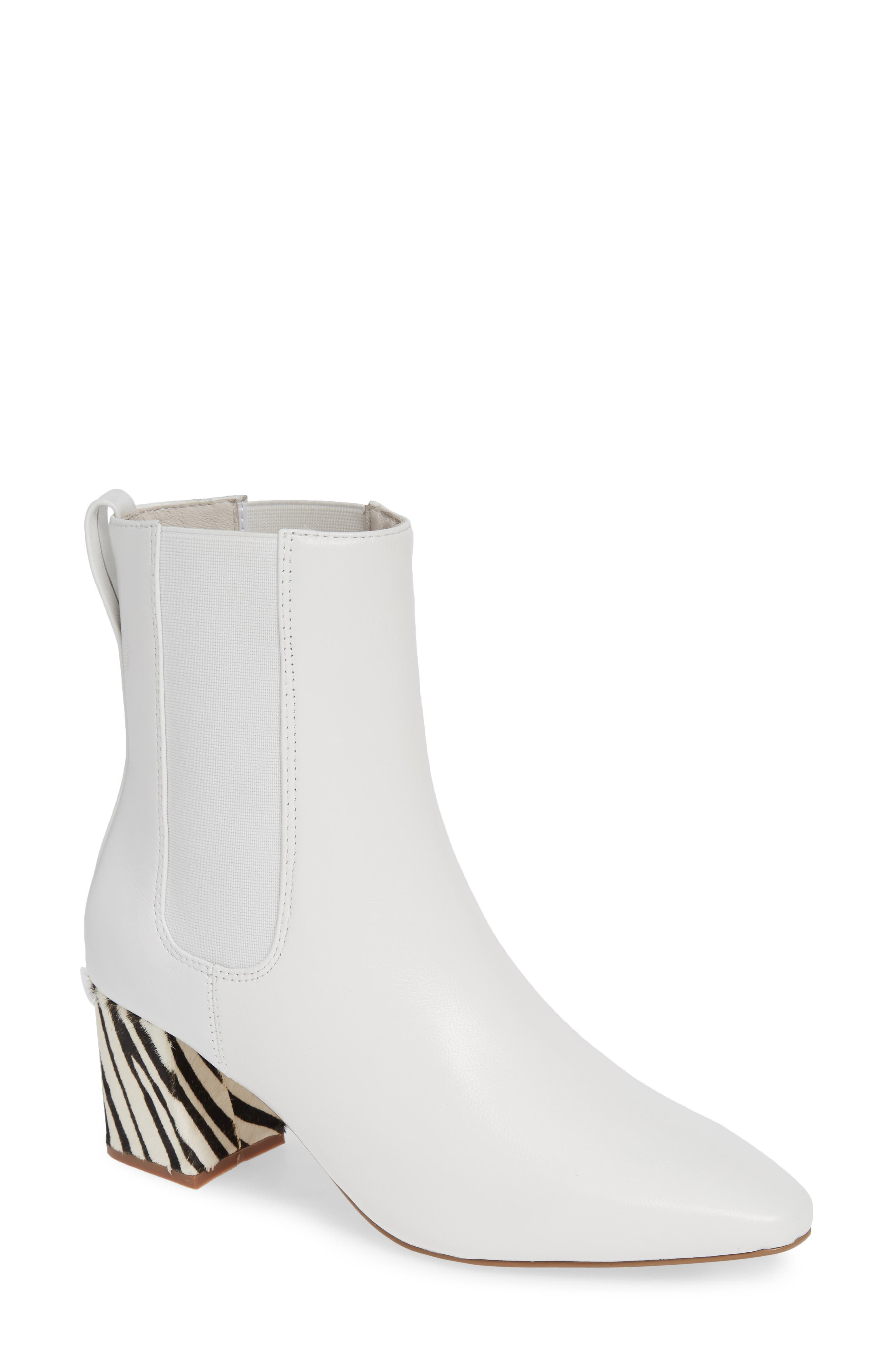 MATISSE Off Duty Genuine Calf Hair Chelsea Bootie in White Leather