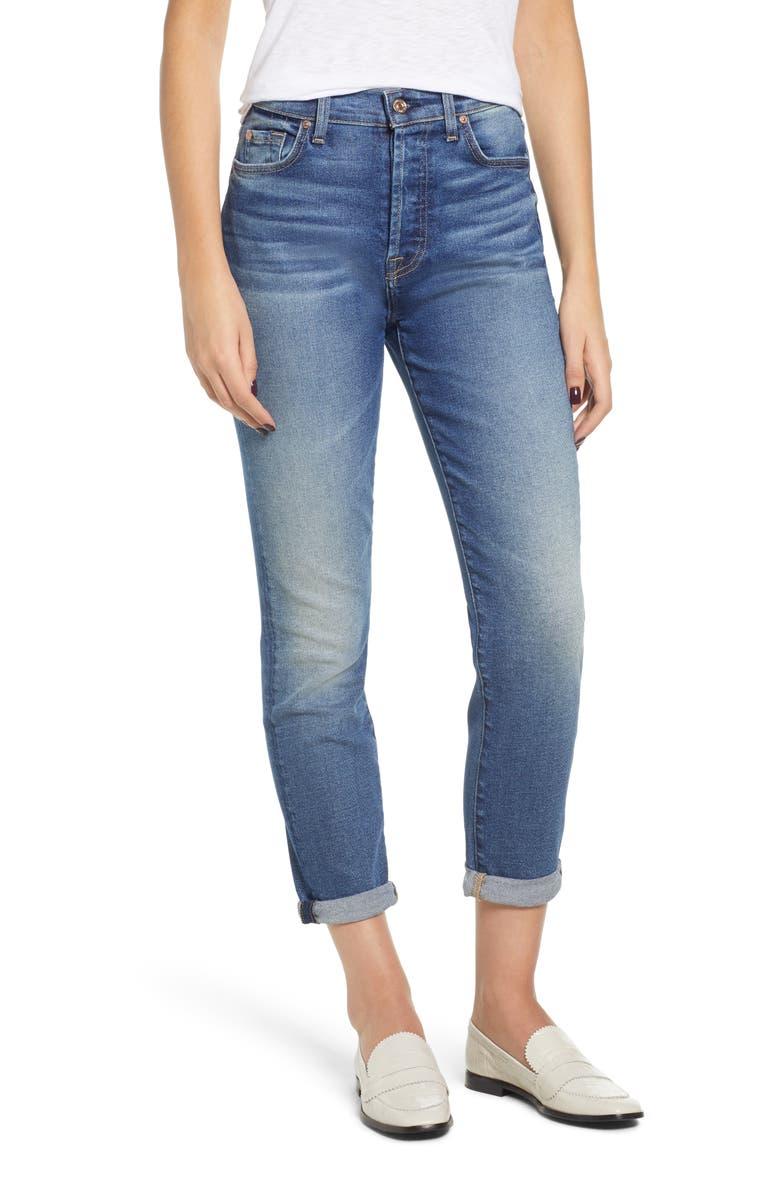 Josefina High Waist Roll Hem Boyfriend Jeans