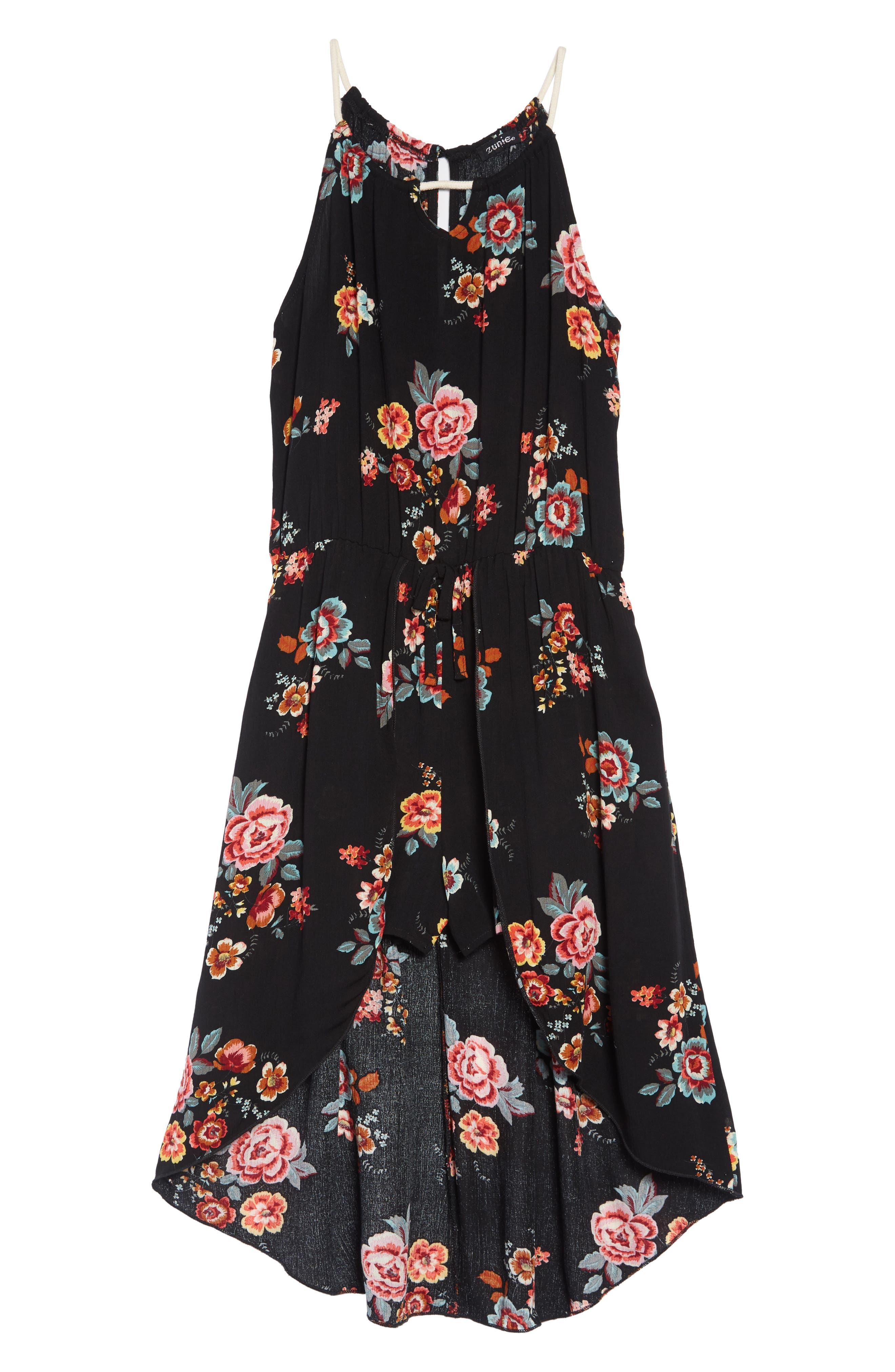 Floral Print Maxi Romper,                         Main,                         color, Black Floral
