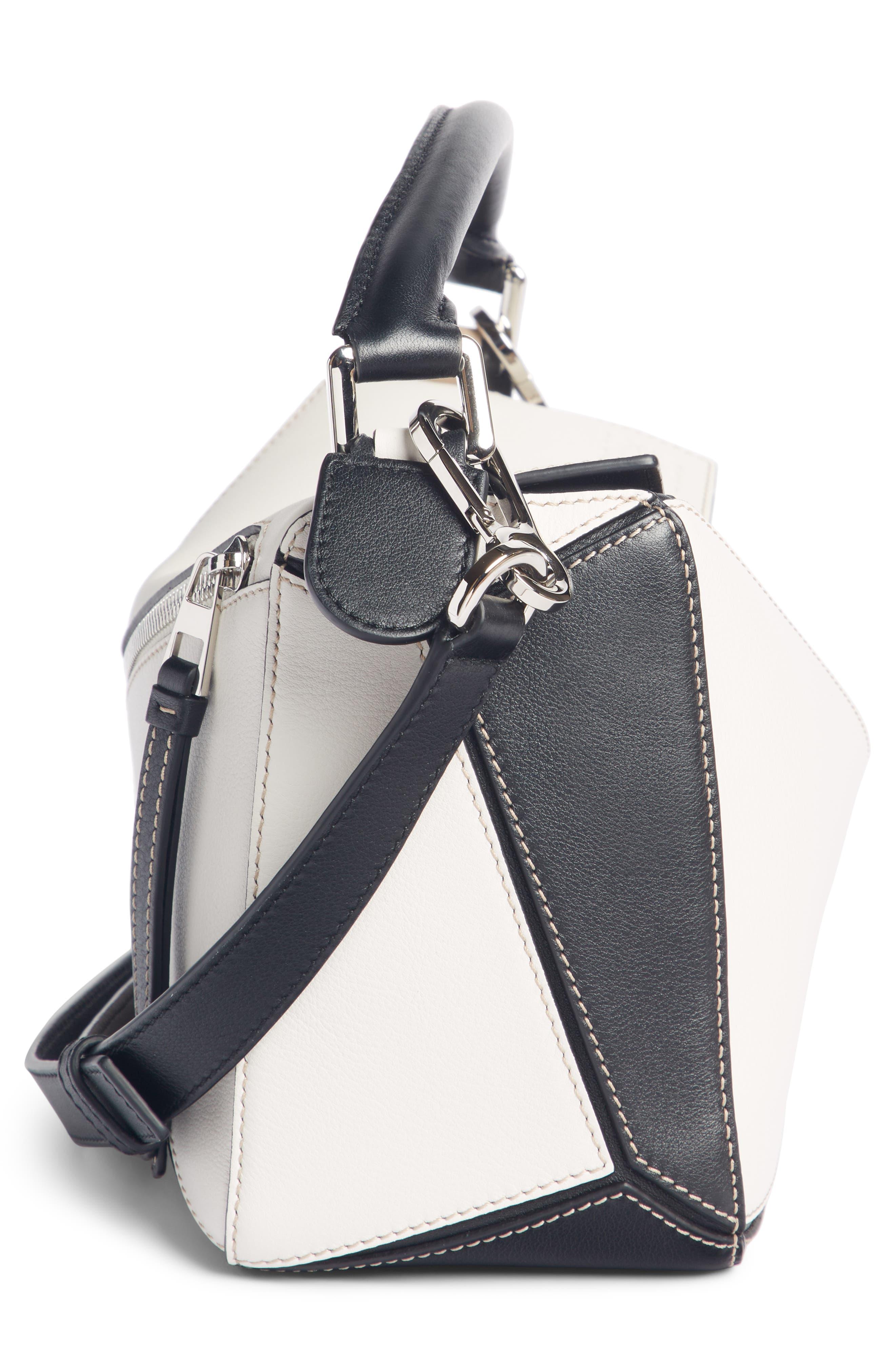 Puzzle Calfskin Leather Bag,                             Alternate thumbnail 3, color,                             Soft White/ Sand