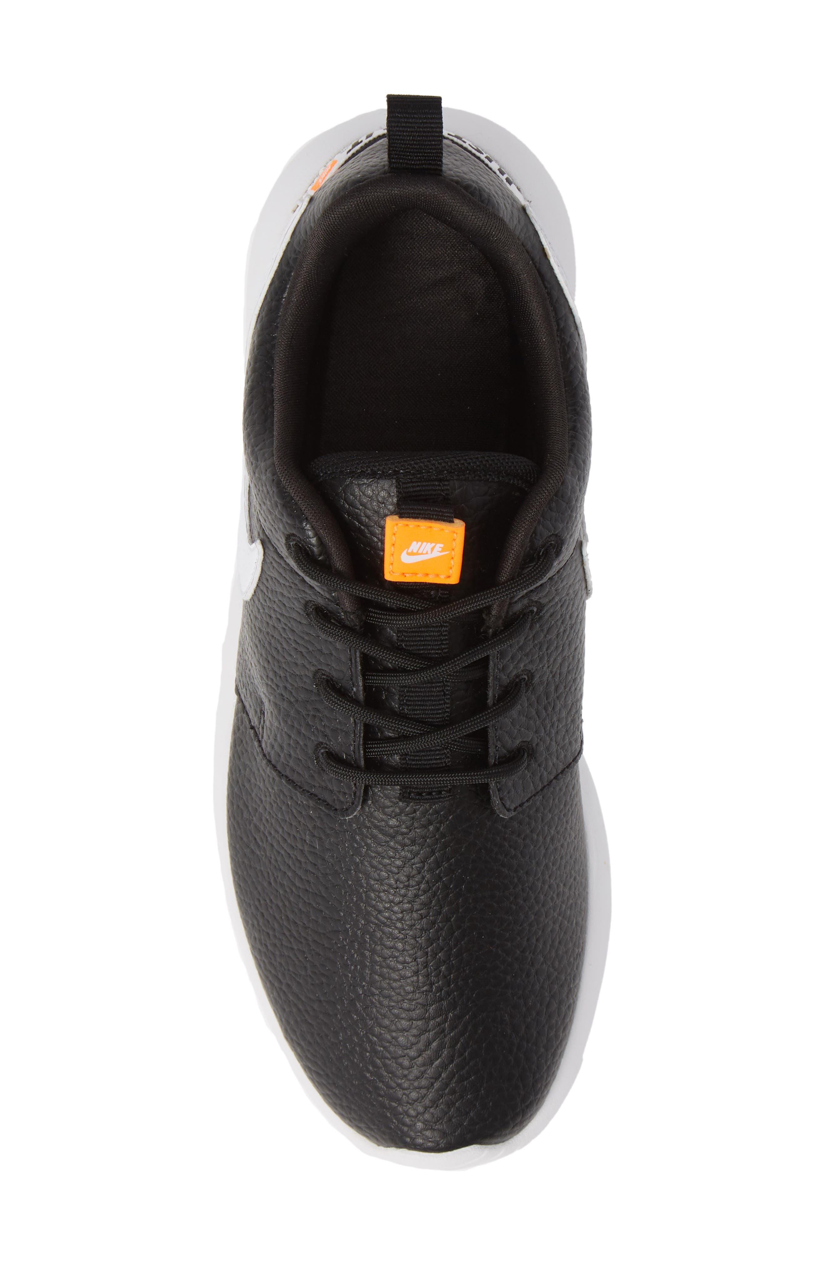 'Roshe Run' Print Sneaker,                             Alternate thumbnail 4, color,                             Black/ White/ Total Orange