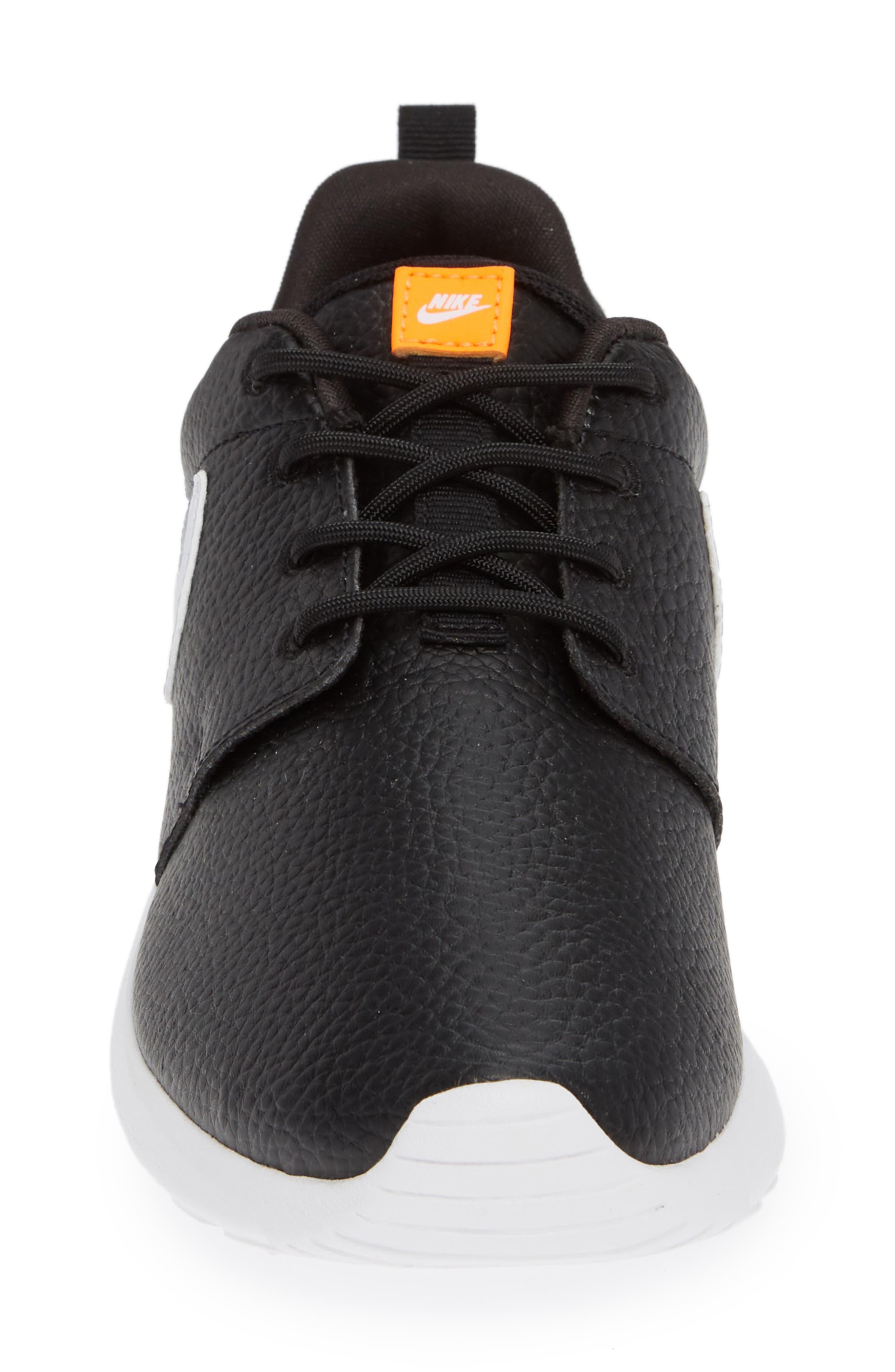 'Roshe Run' Print Sneaker,                             Alternate thumbnail 5, color,                             Black/ White/ Total Orange