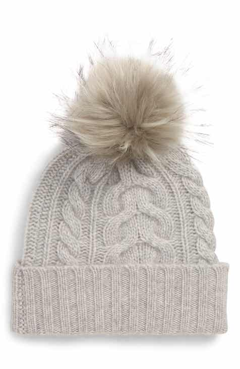 Halogen® Cashmere Cable Knit Beanie with Faux Fur Pom 662e927e573