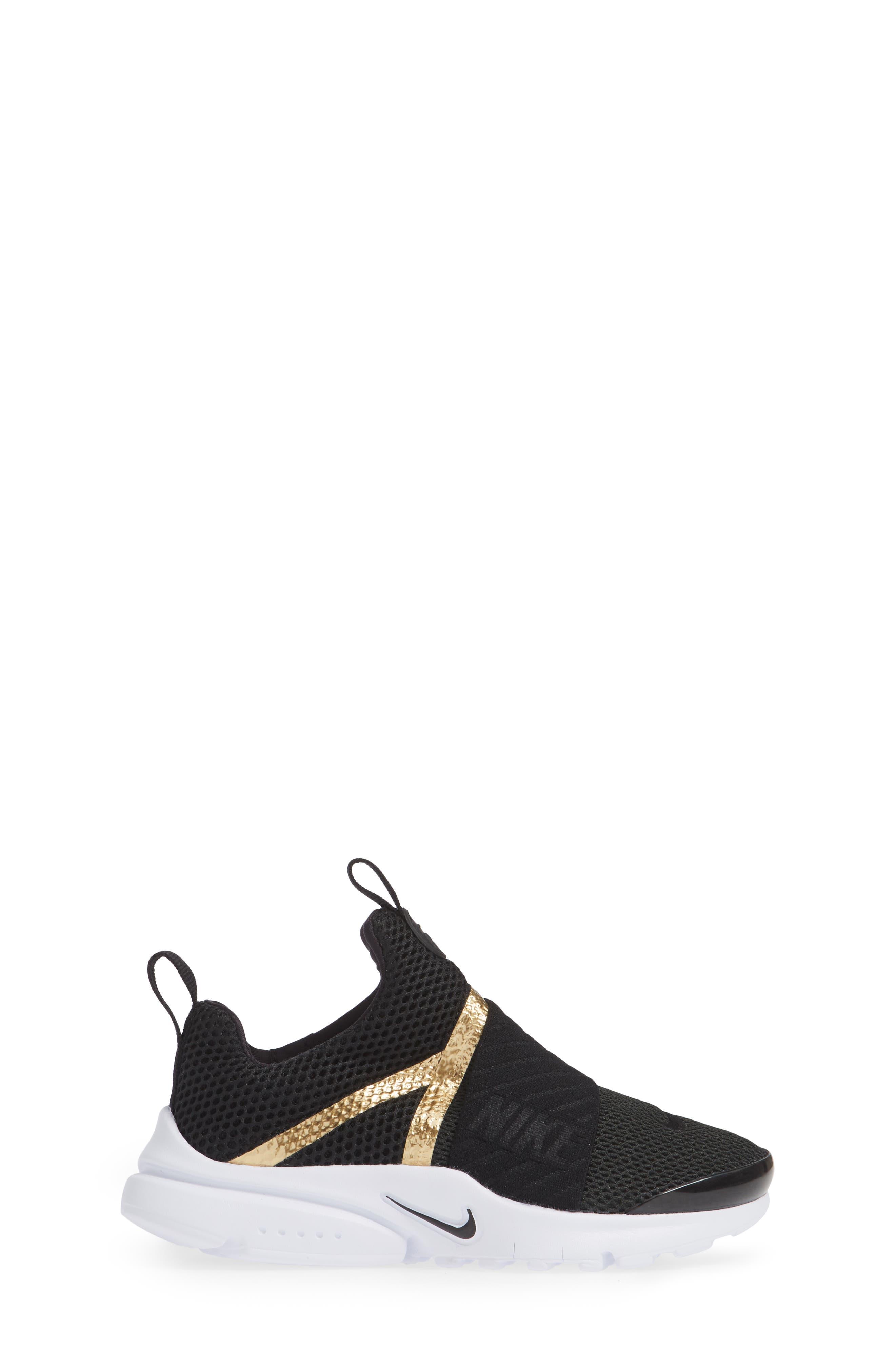 Presto Extreme Sneaker,                             Alternate thumbnail 3, color,                             Black/ Metallic Gold/ White