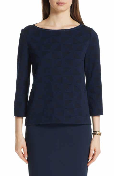 St. John Collection Geometric Blister Jacquard Top by ST. JOHN COLLECTION