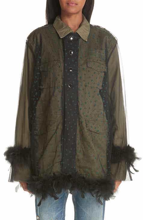 Tu es mon Tr?sor Military Jacket with Removable Tulle & Feather Overlay