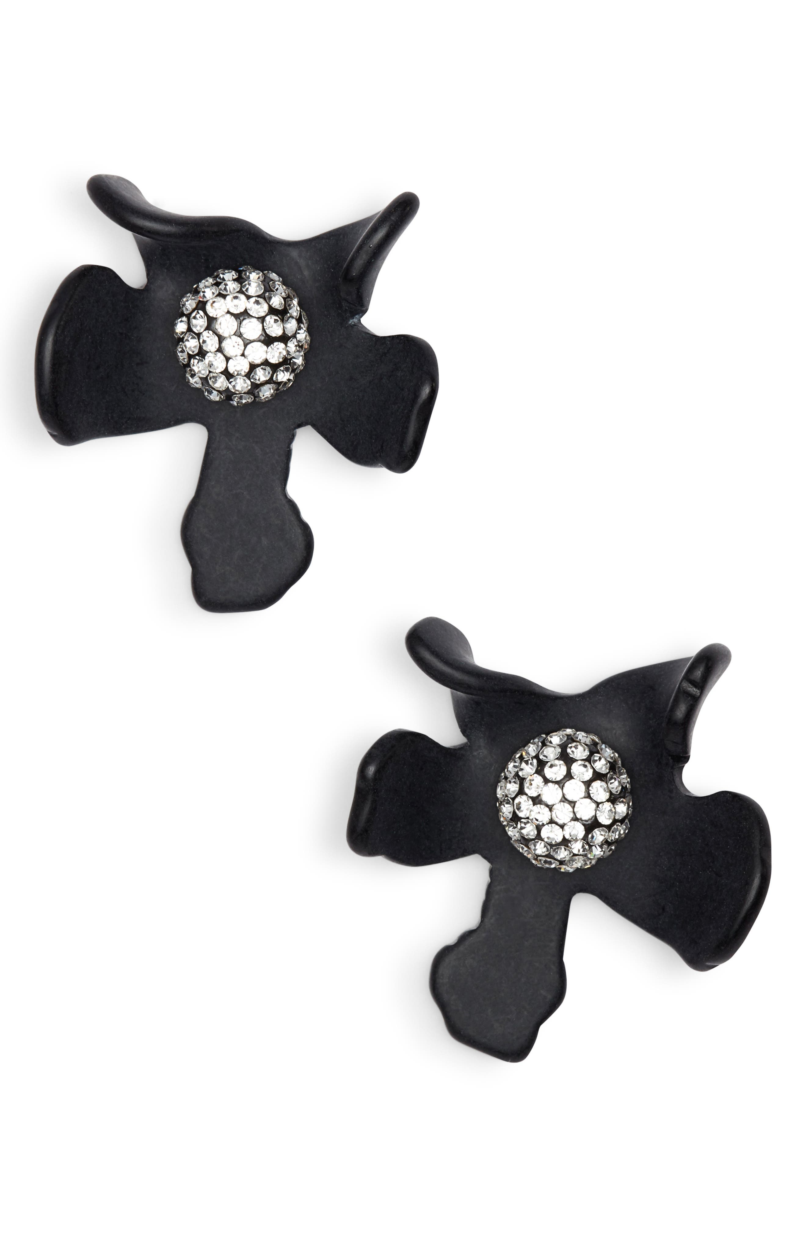 LELE SADOUGHI Crystal Lily Button Earrings in Jet