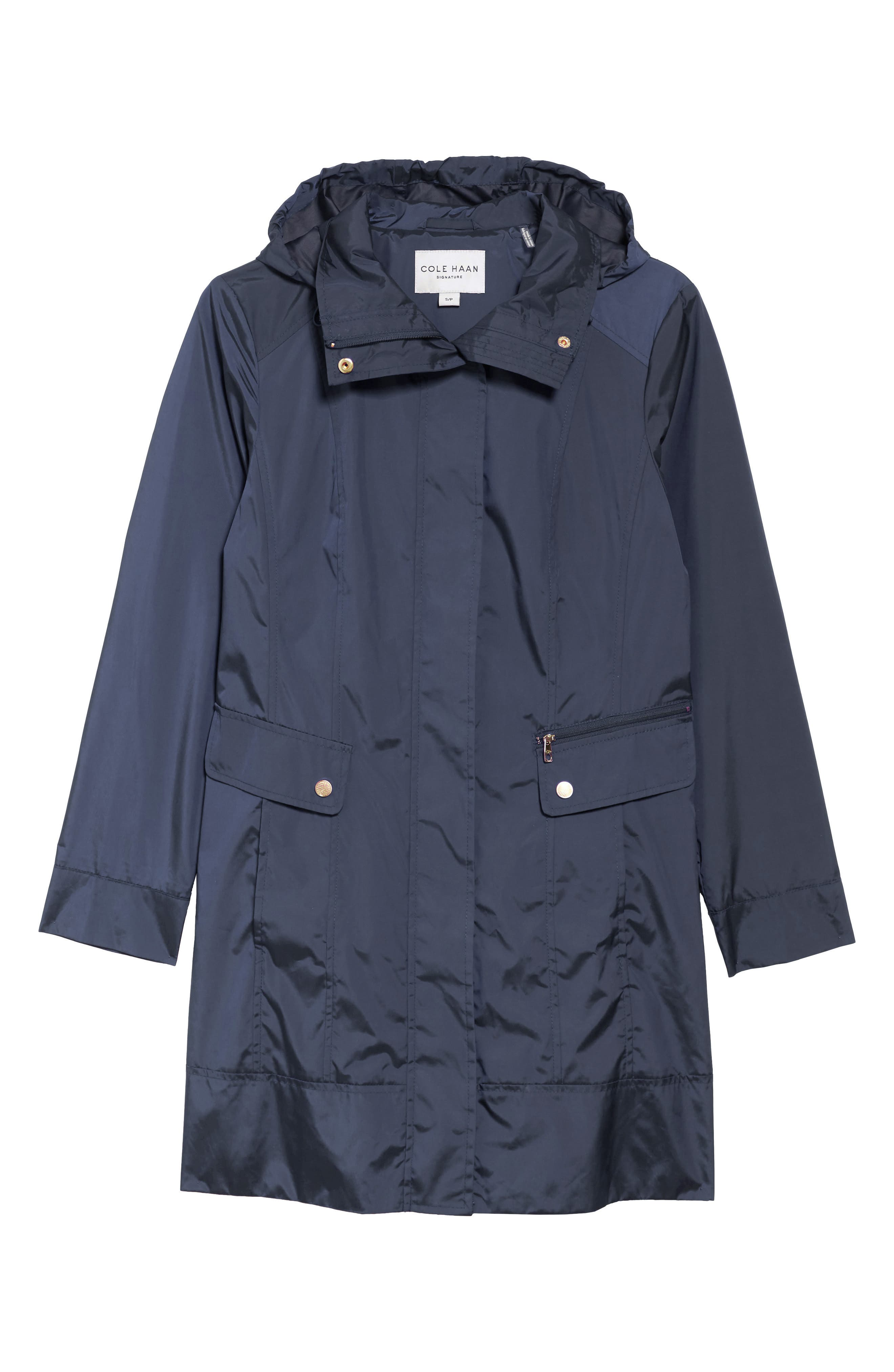 Back Bow Packable Hooded Raincoat,                         Main,                         color, Indigo