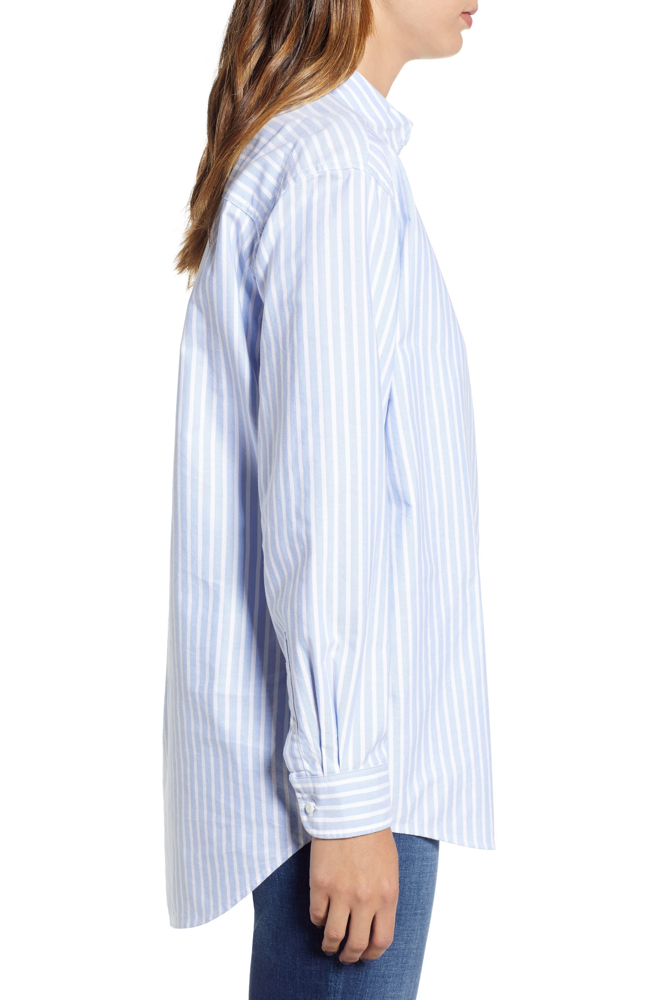 Classics Stripe Shirt,                             Alternate thumbnail 4, color,                             Light Blue / Bright White