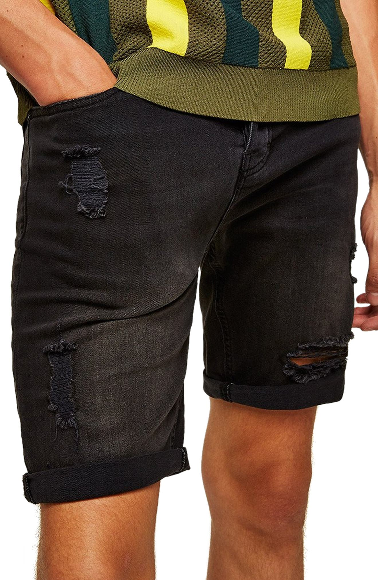 FINCH SKINNY FIT RIPPED SHORTS