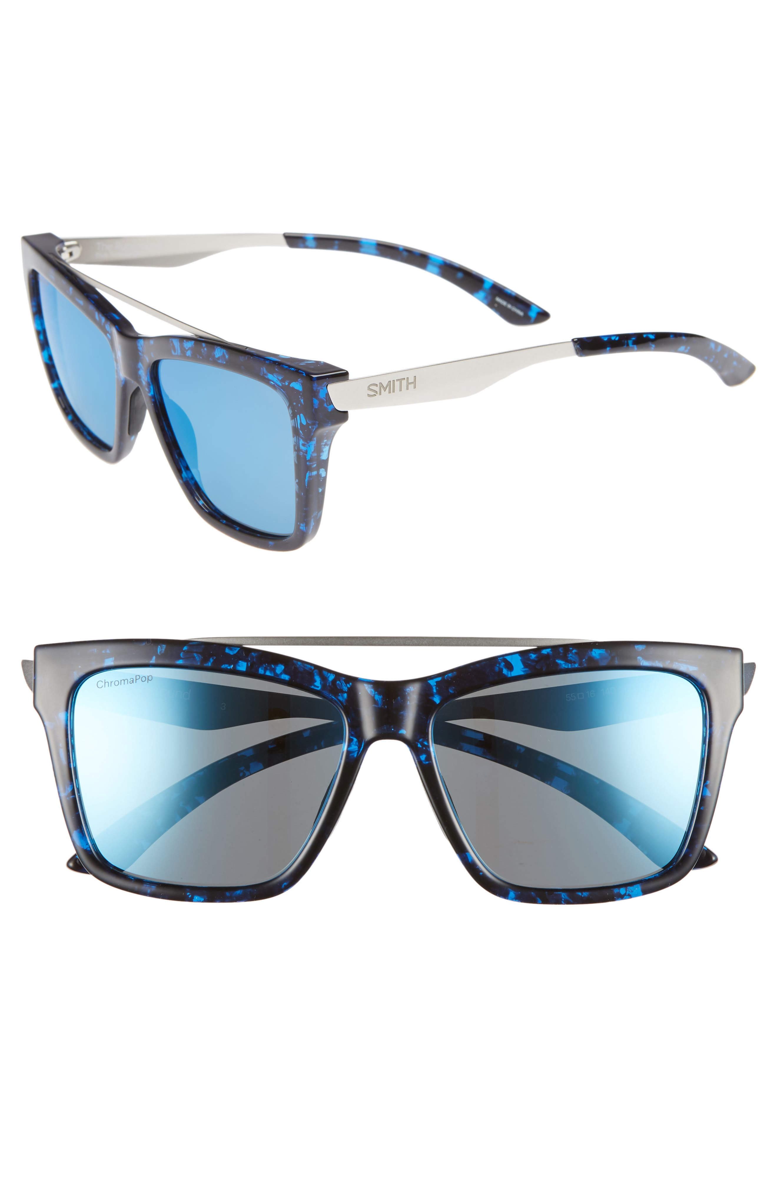 SMITH THE RUNAROUND 55MM CHROMAPOP(TM) POLARIZED SUNGLASSES - BLUE TORTOISE