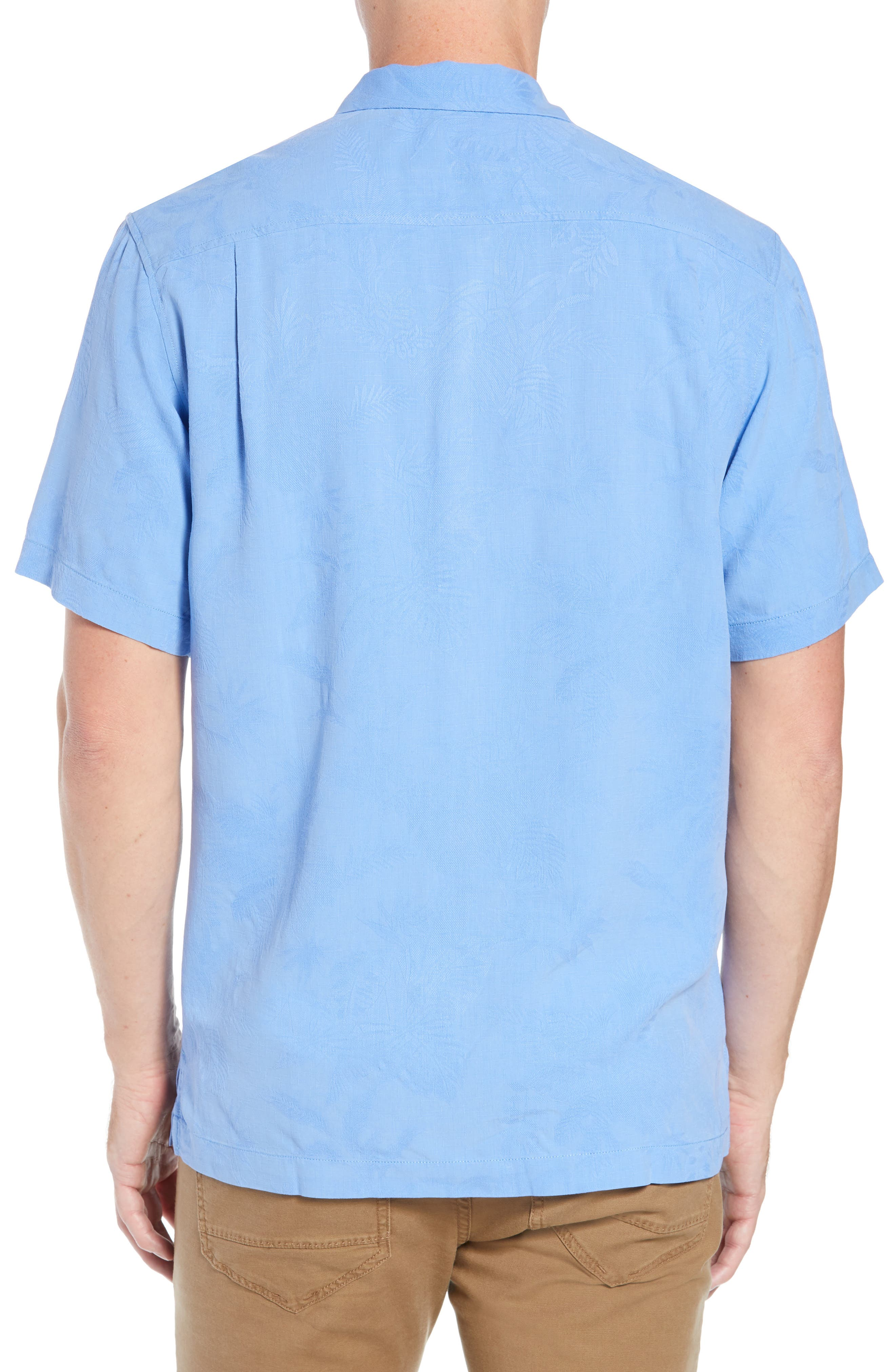 St Lucia Fronds Silk Camp Shirt,                             Alternate thumbnail 3, color,                             New Blue Opal