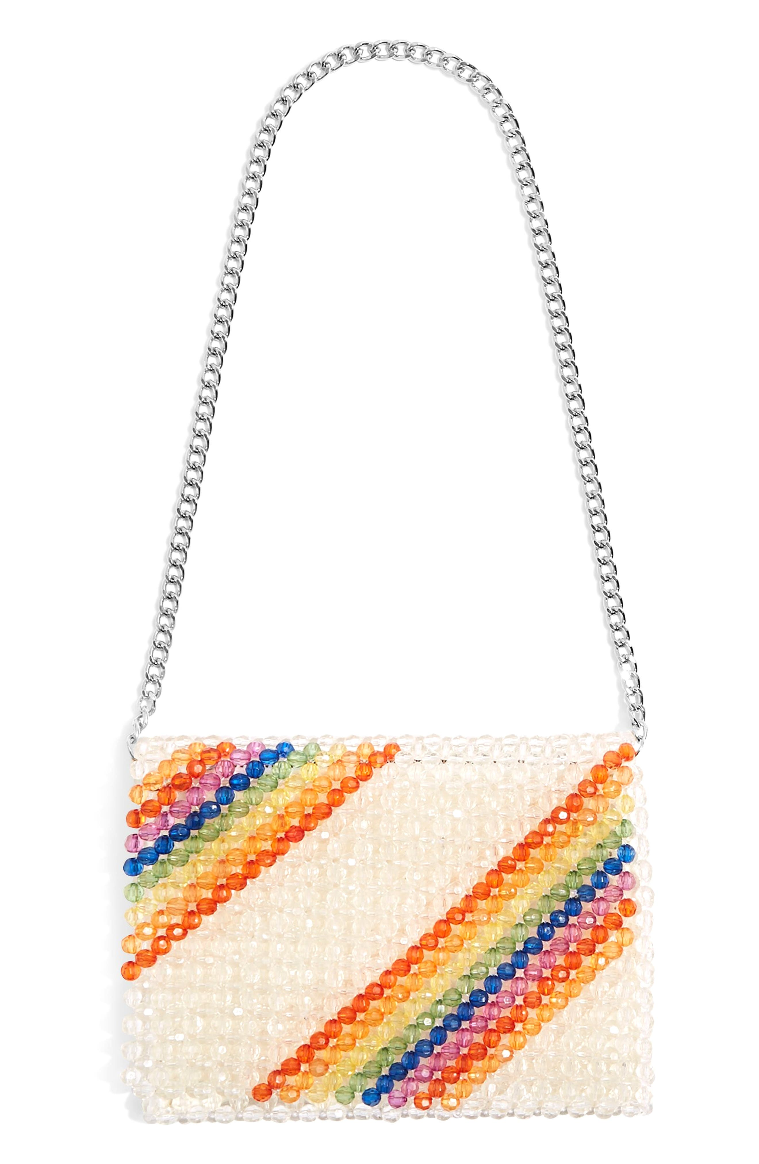 Zizi Beaded Rainbow Shoulder Bag,                             Main thumbnail 1, color,                             Clear Multi