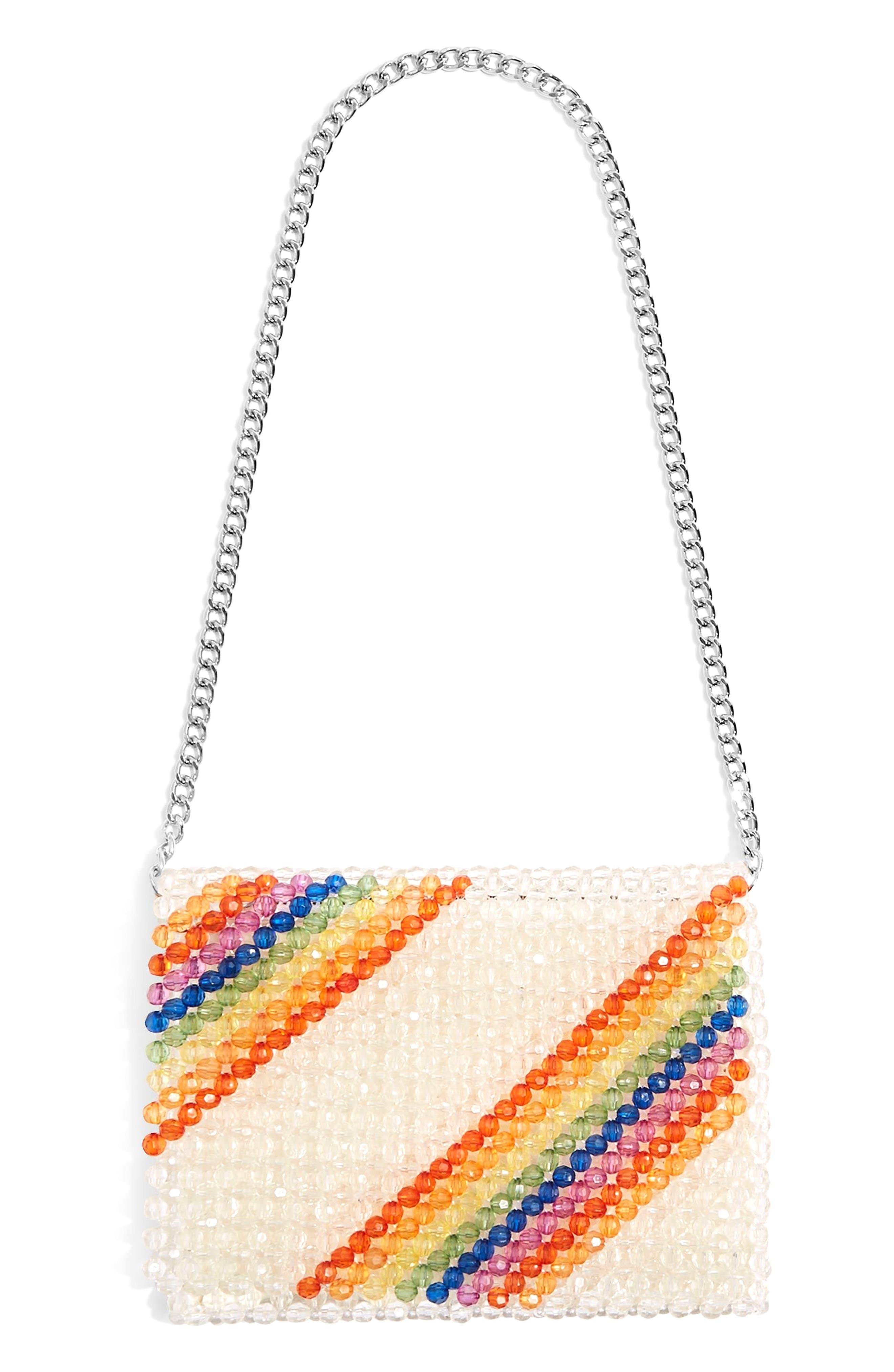 Zizi Beaded Rainbow Shoulder Bag,                         Main,                         color, Clear Multi