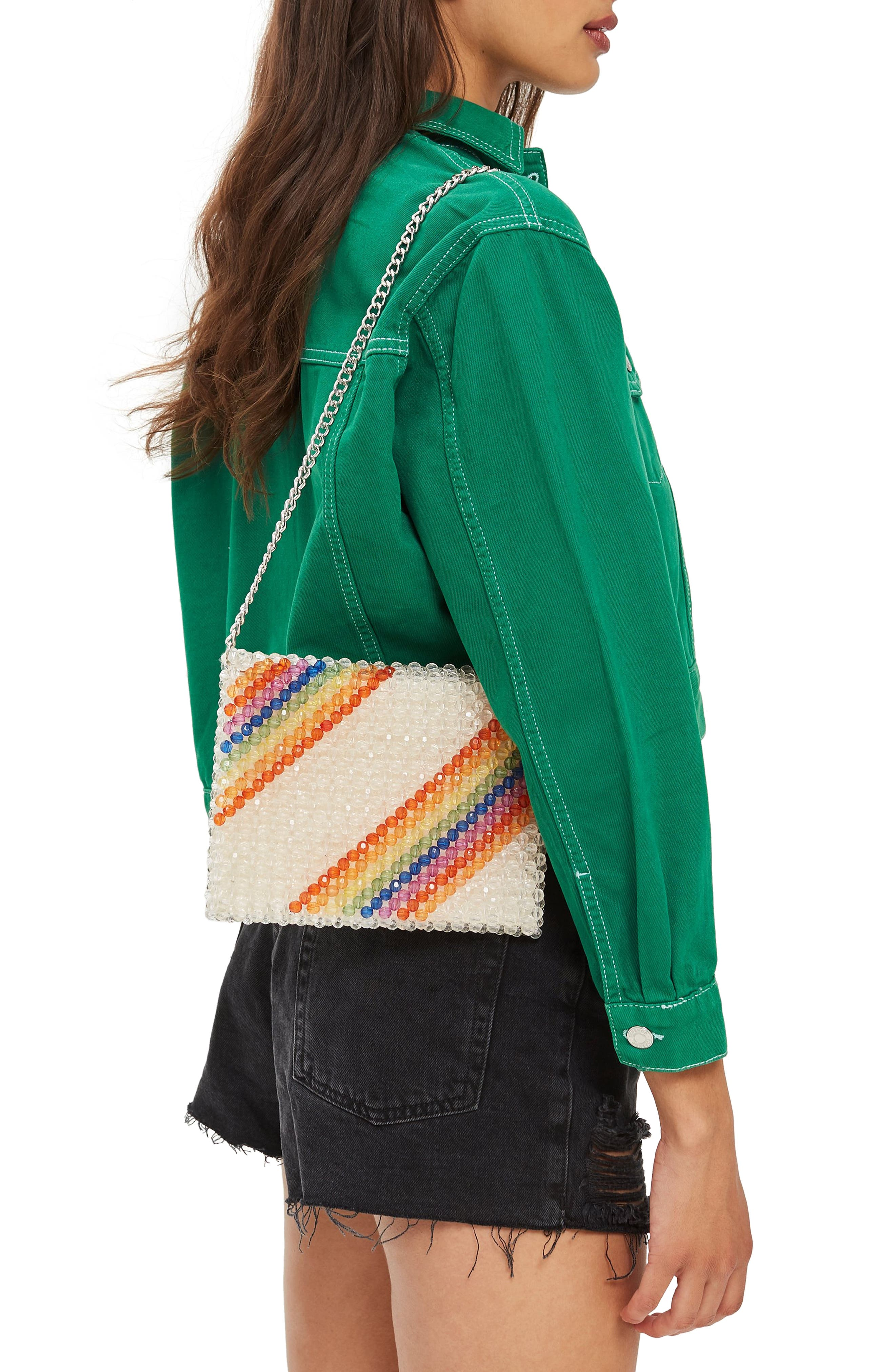 Zizi Beaded Rainbow Shoulder Bag,                             Alternate thumbnail 2, color,                             Clear Multi
