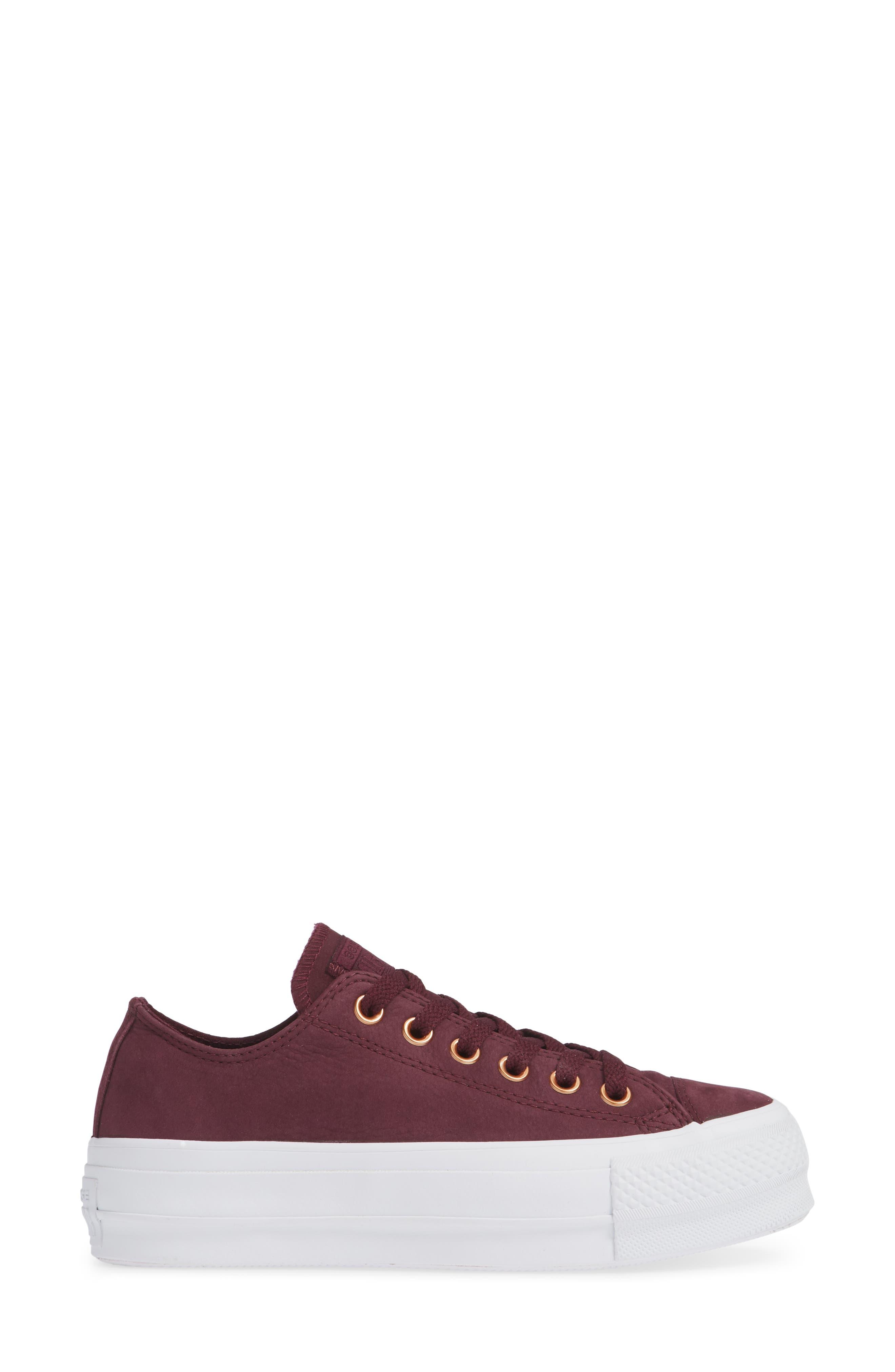 Chuck Taylor<sup>®</sup> All Star<sup>®</sup> Platform Sneaker,                             Alternate thumbnail 3, color,                             Dark Sangria Nubuck