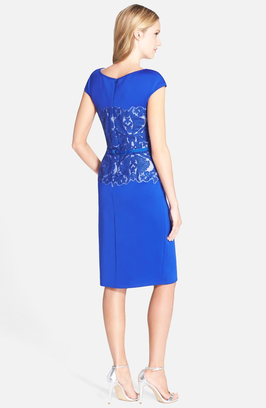 Alternate Image 2  - Tadashi Shoji Belted Embroidered Neoprene Sheath Dress (Regular & Petite)