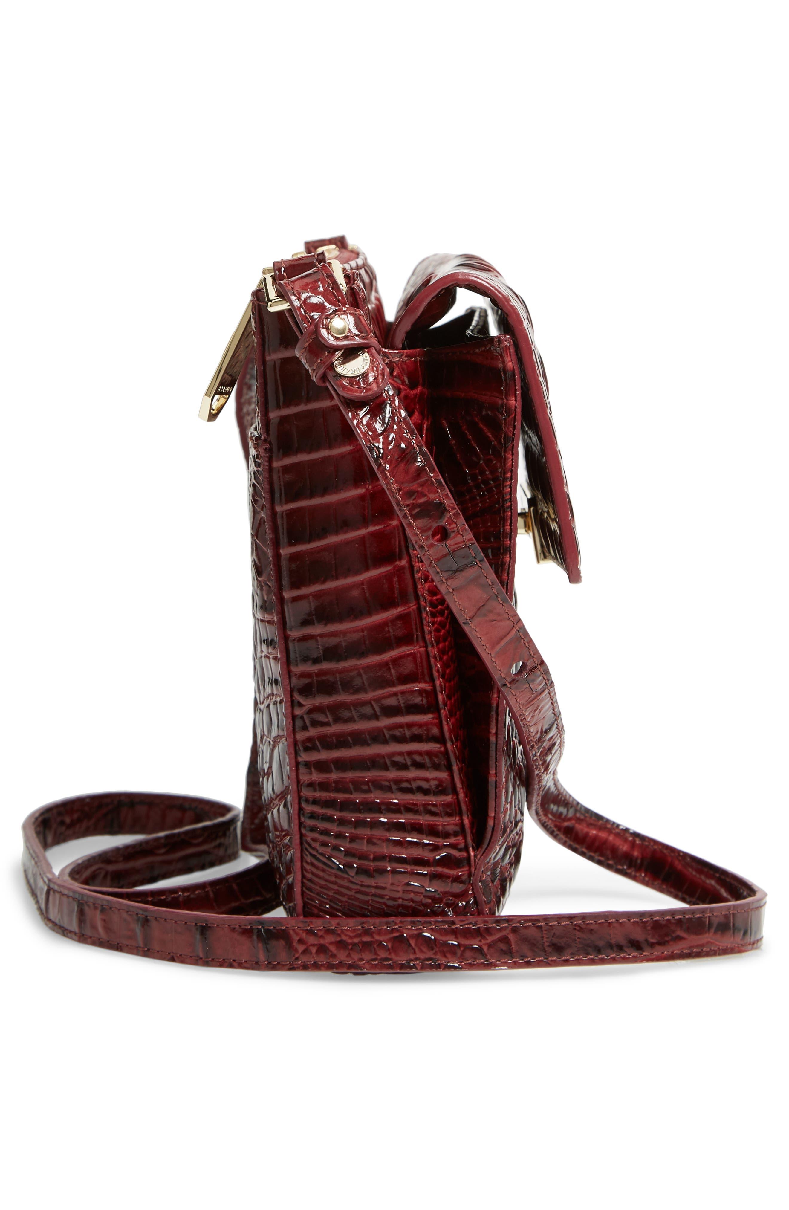 Melbourne Manhattan Croc Embossed Leather Crossbody Bag,                             Alternate thumbnail 3, color,                             Tart
